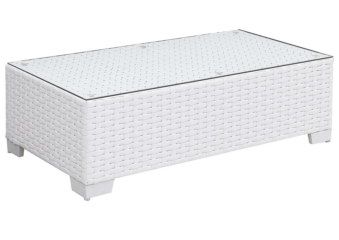 Somani White Wicker/White Cushion Coffee Table,Furniture of America