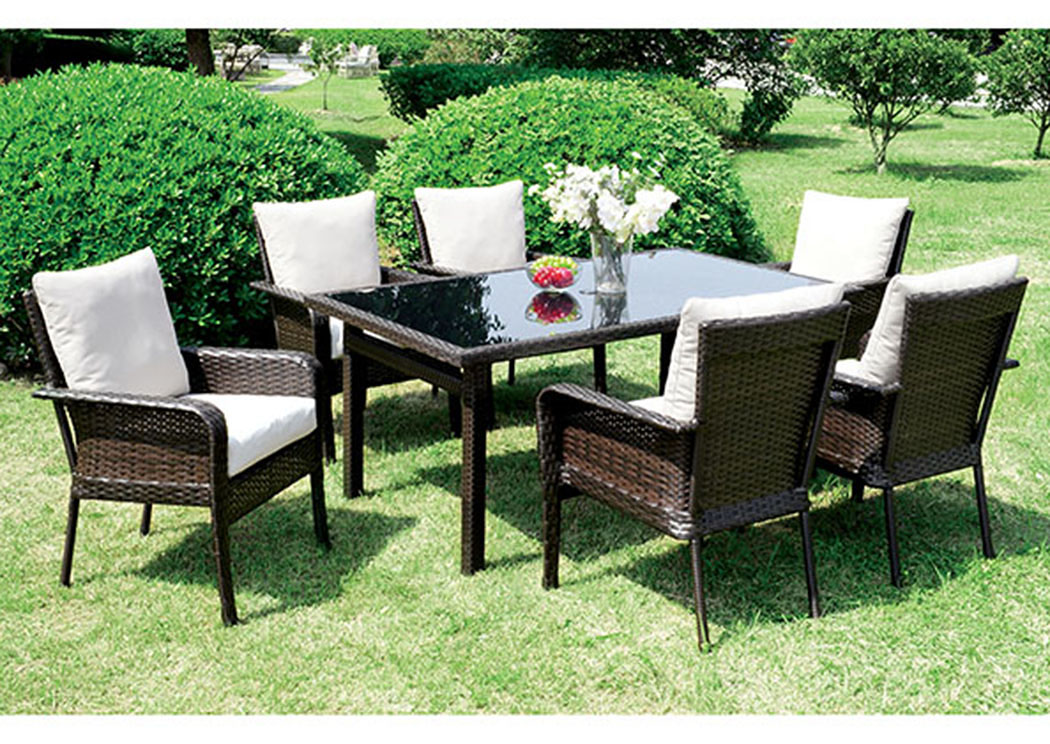 Shakira Ivory/Espresso Patio Dining Table w/4 Armed Chairs,Furniture of America