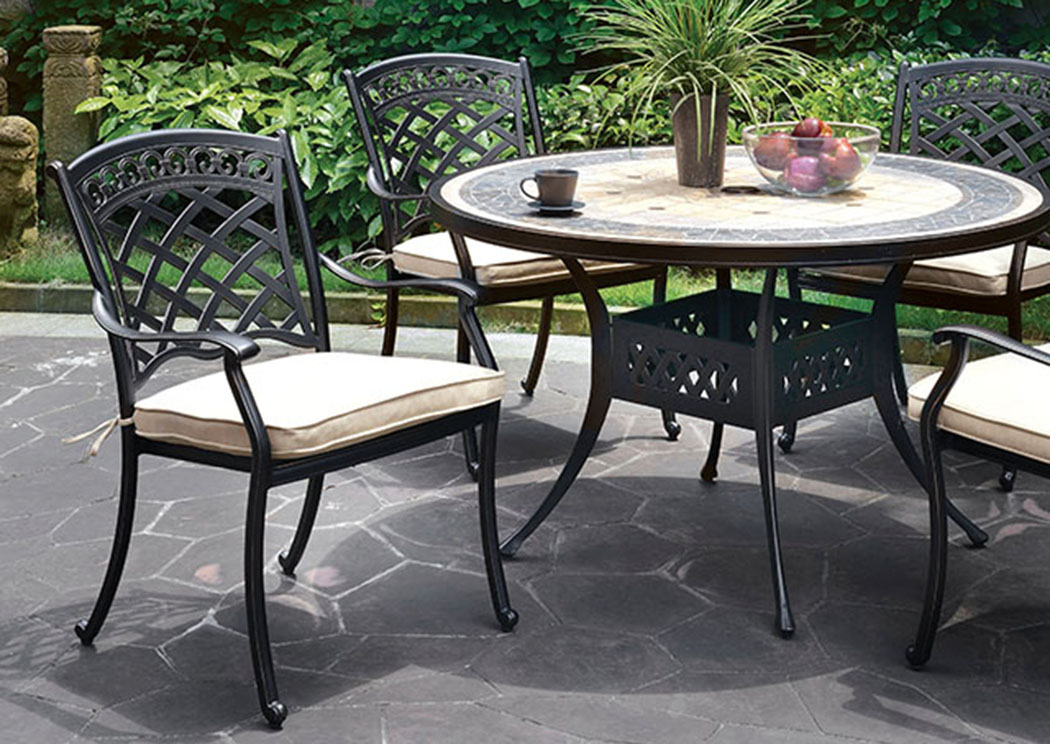 Charissa Antique Black Metal Round Patio Table,Furniture of America