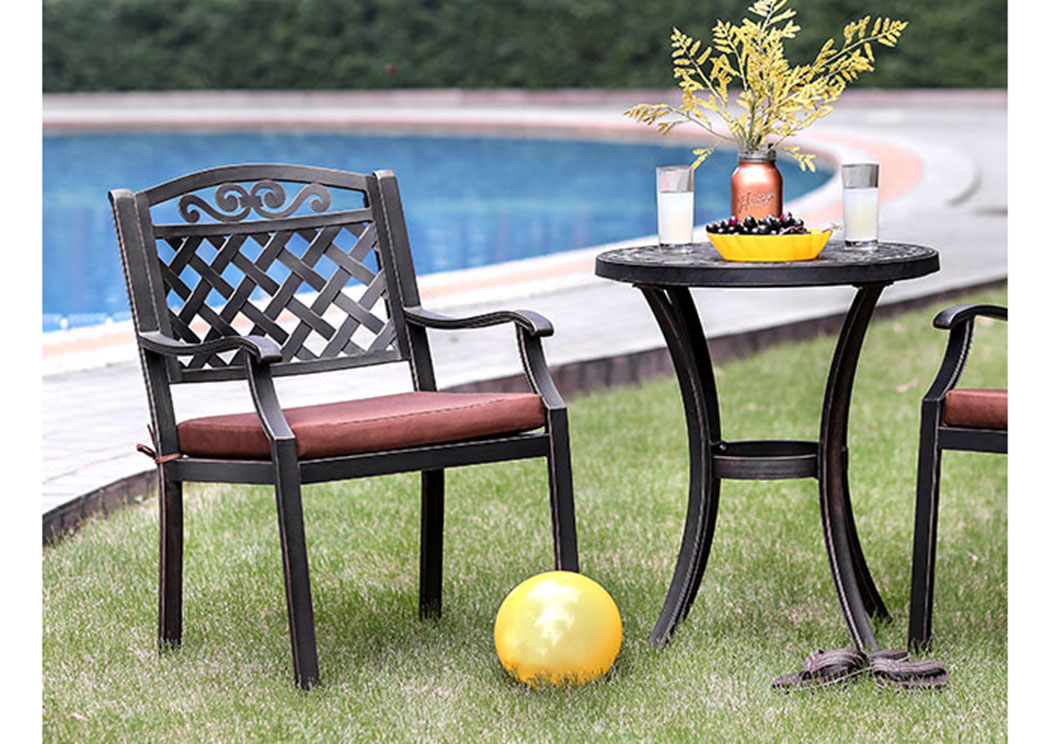 Jessa Antique Brass Round Patio Table,Furniture of America