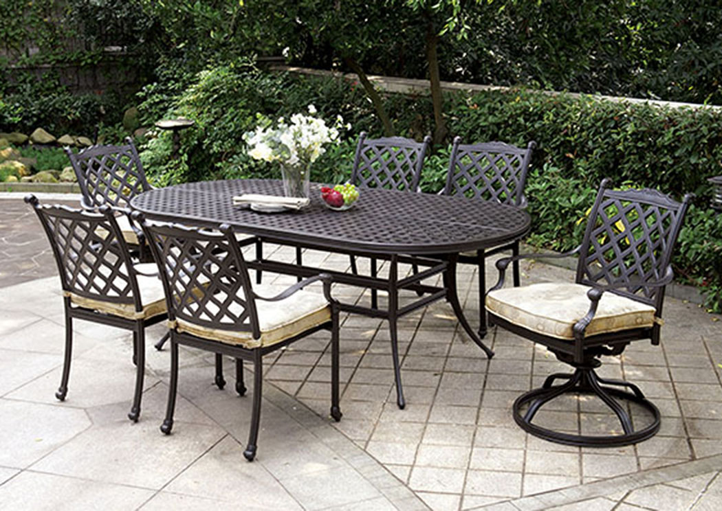 Chiara Dark Gray Oval Patio Dining Table W/2 Swivel Rocker Chairs And 4  Armed