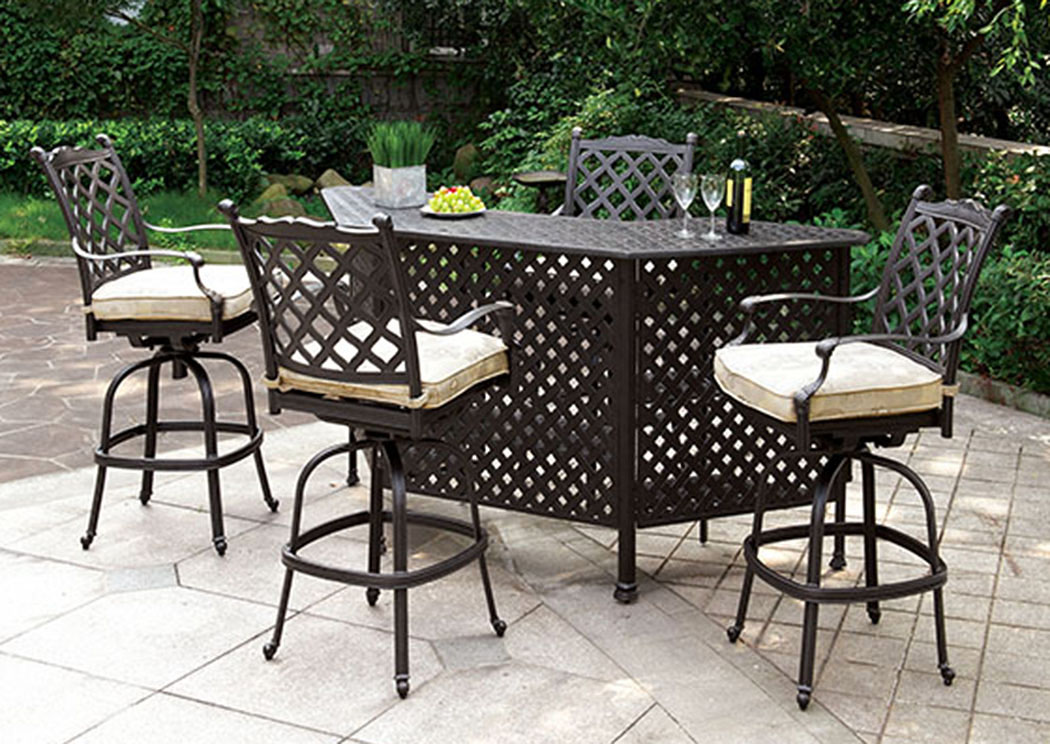 Christa Dark Gray Patio Bar Table,Furniture of America