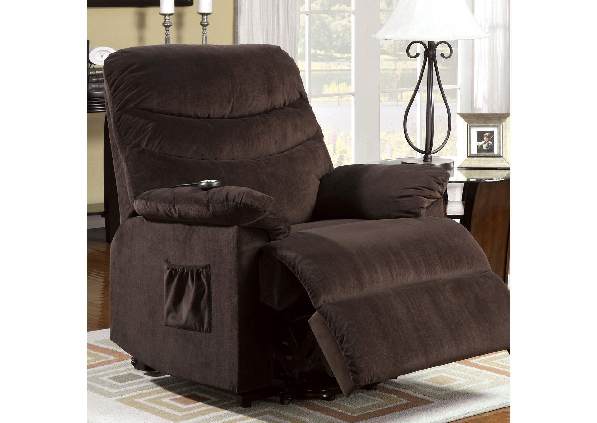 Perth Cocoa Brown Bella Fabric Power Lift Recliner,Furniture of America