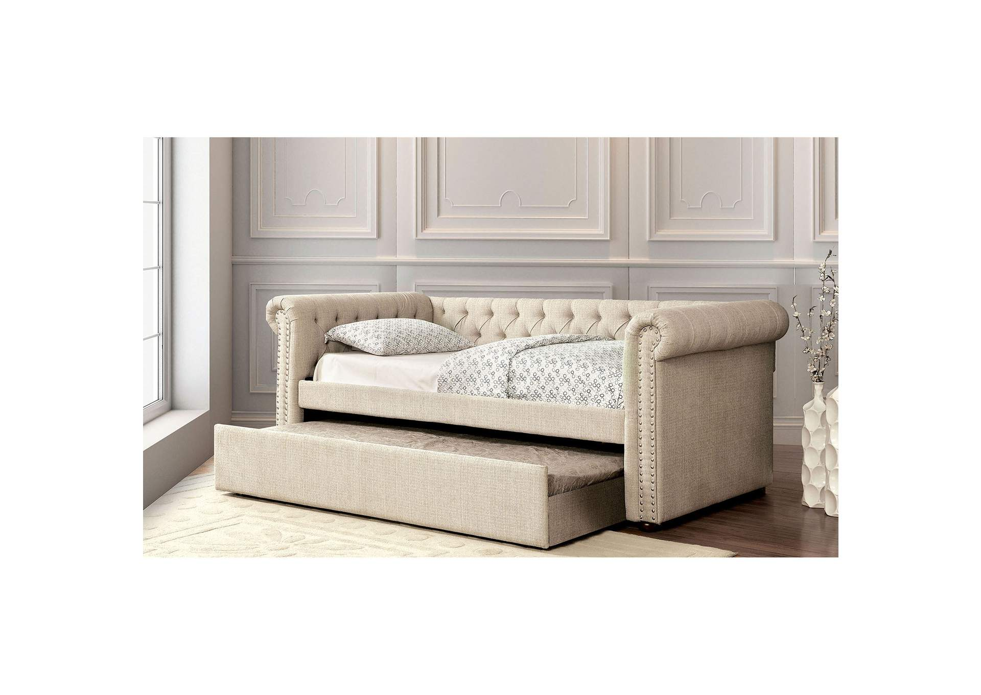 Leanna Beige Daybed w/Trundle,Furniture of America