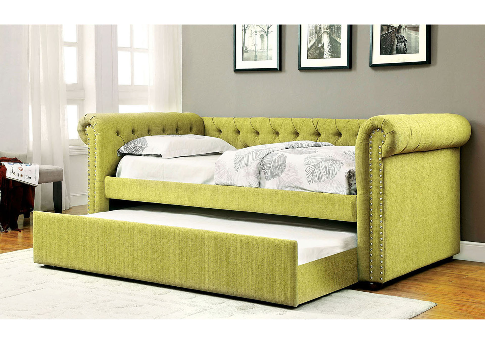 Leanna Lemongrass Daybed w/Trundle,Furniture of America