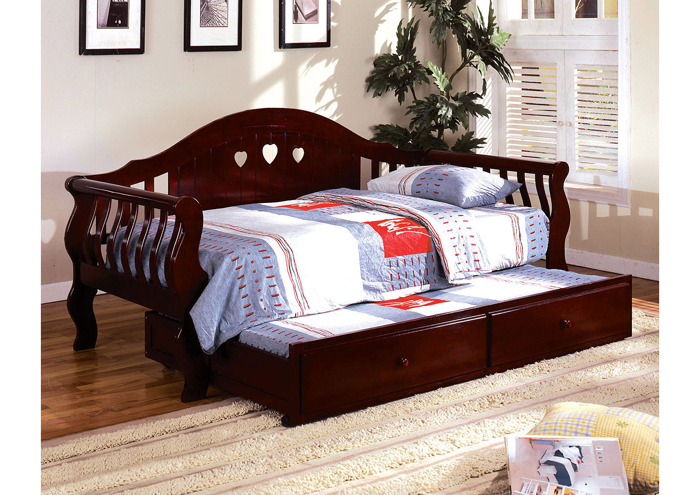 Charlotte Cherry Daybed w/Twin Trundle,Furniture of America