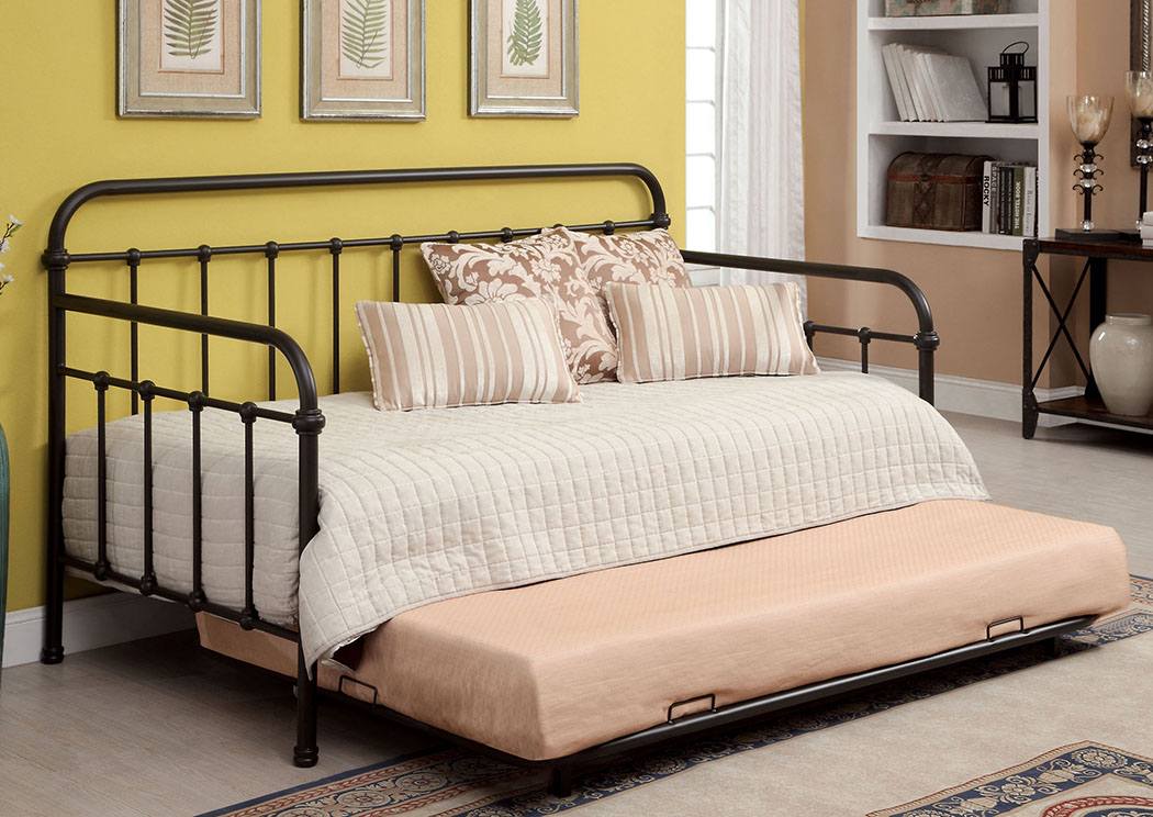 Claremont Dark Bronze Metal Daybed w/Trundle,Furniture of America