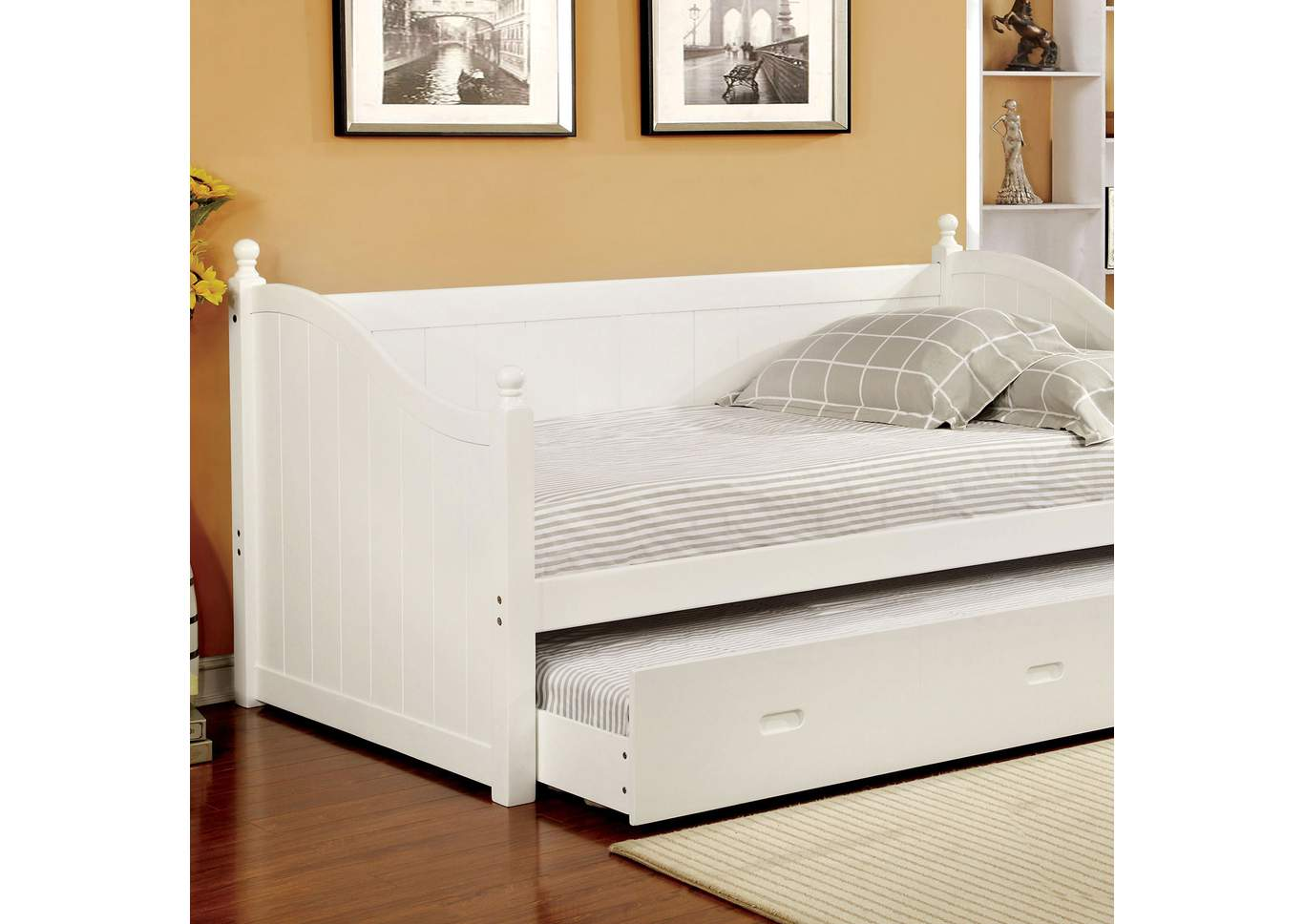 Walcott White Daybed w/Twin Trundle,Furniture of America