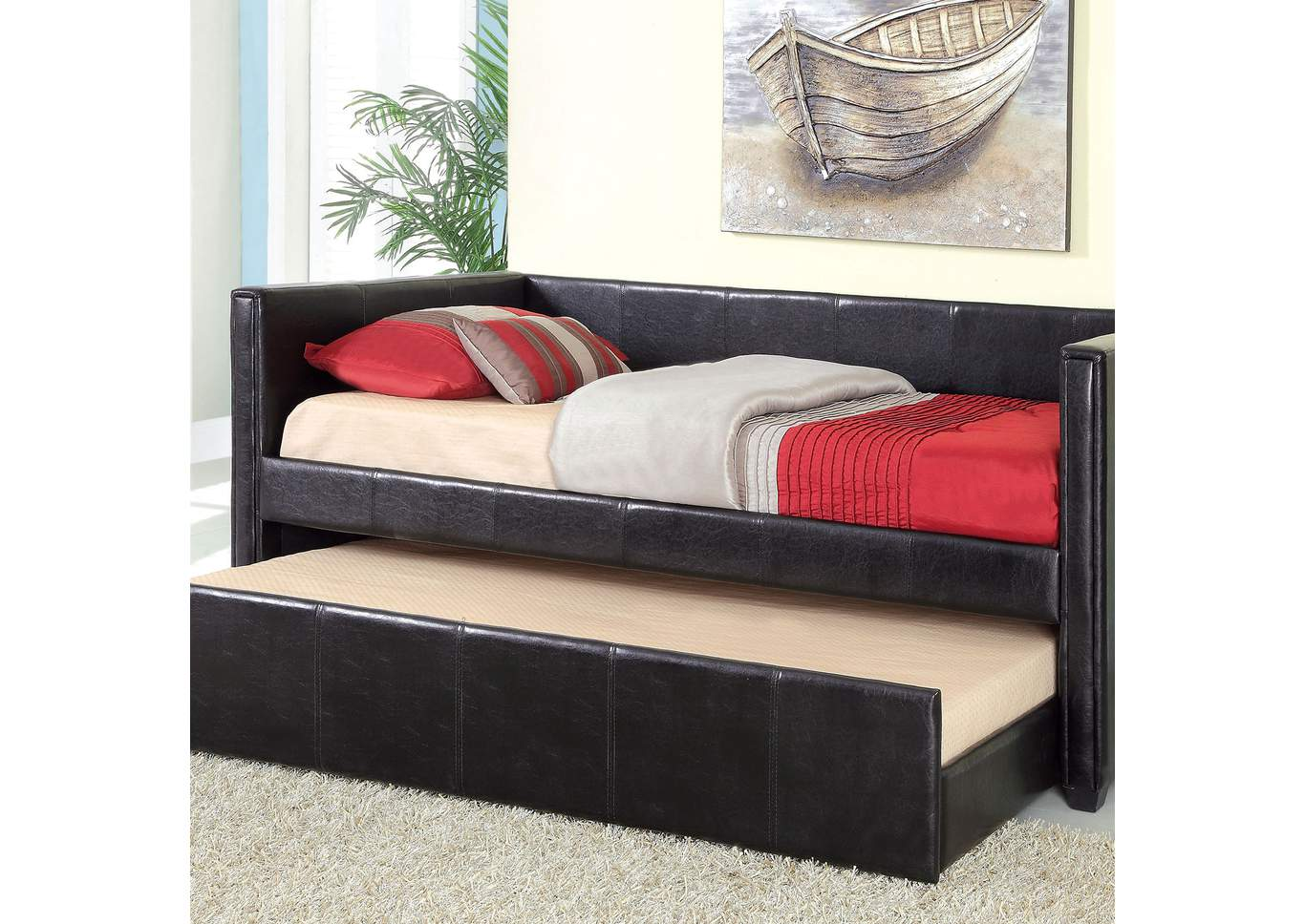 Cadiz Black Platform Daybed w/Twin Trundle & Casters,Furniture of America