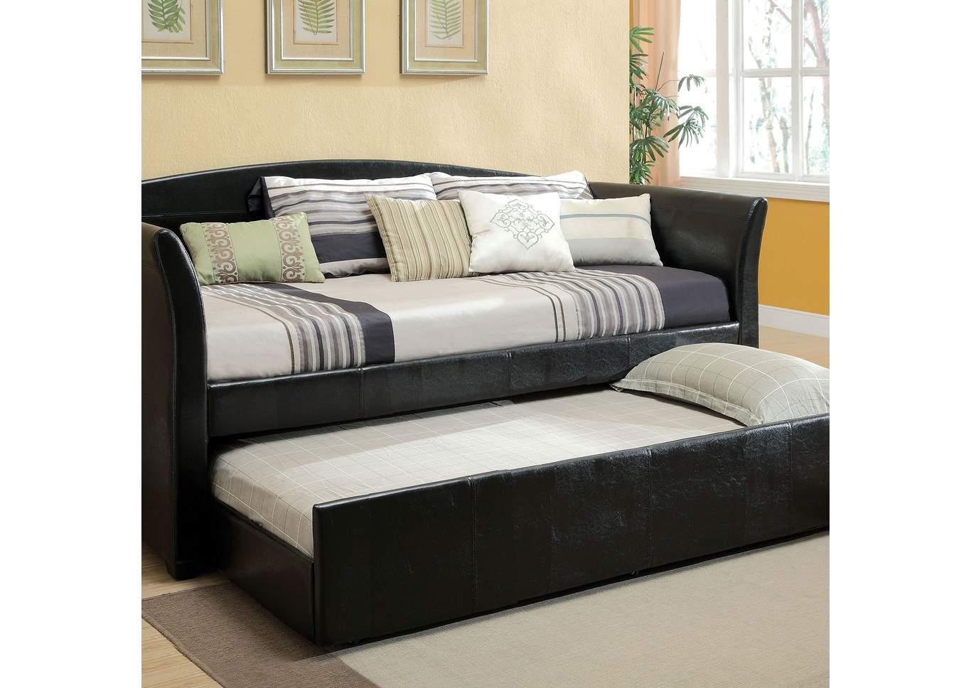 Superbe Delmar Black Daybed W/Twin Trundle U0026 Casters,Furniture Of America