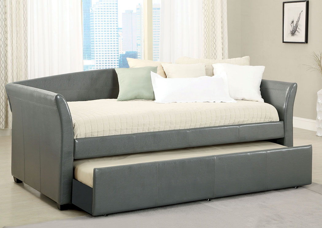 Delmar Grey Daybed w/Twin Trundle & Casters,Furniture of America