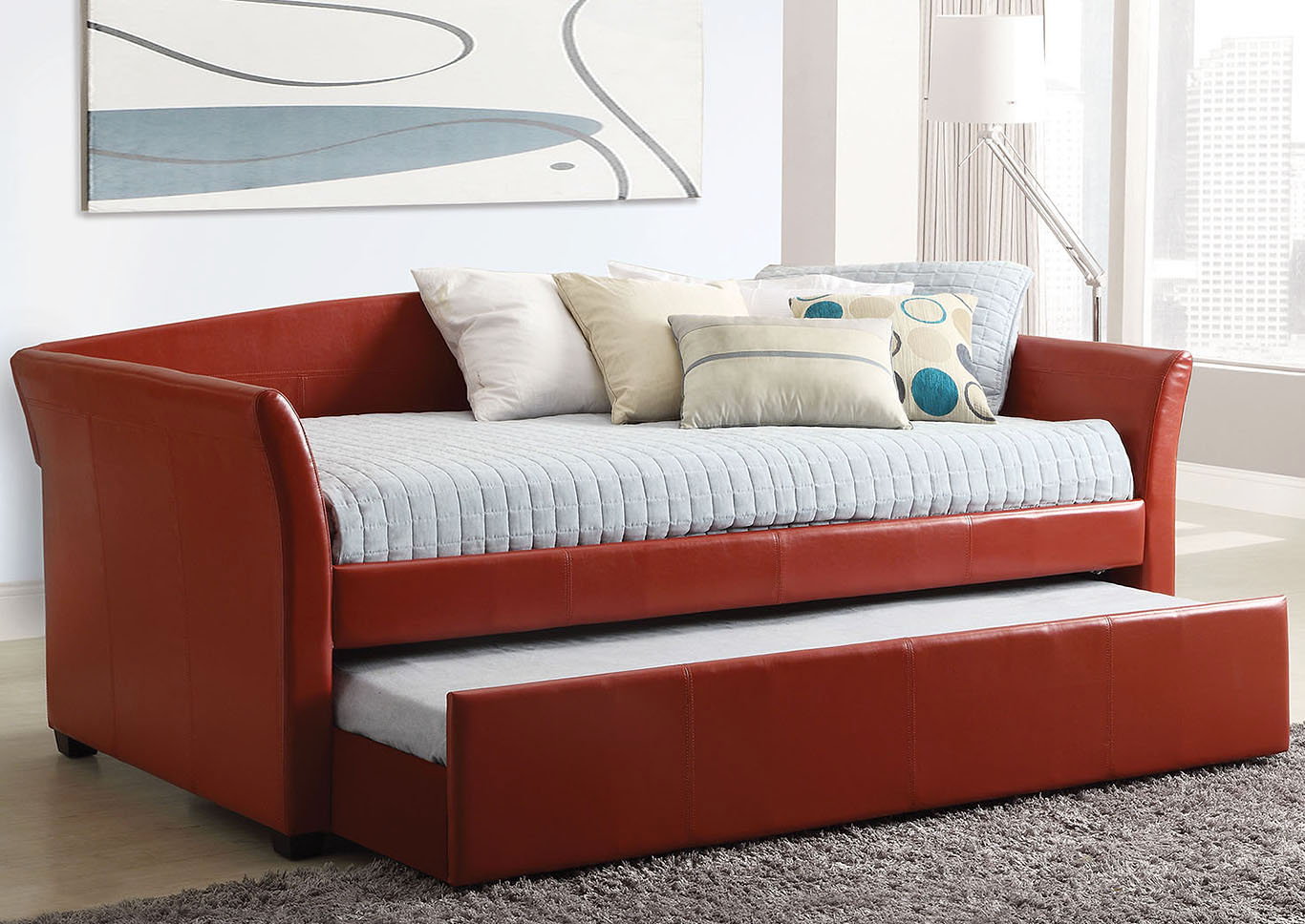 Delmar Red Daybed w/Twin Trundle & Casters,Furniture of America