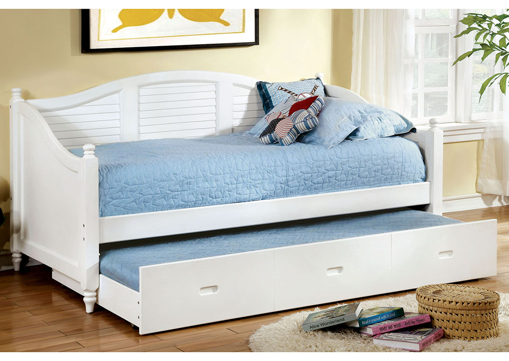 Bel Air White Daybed w/Twin Trundle,Furniture of America
