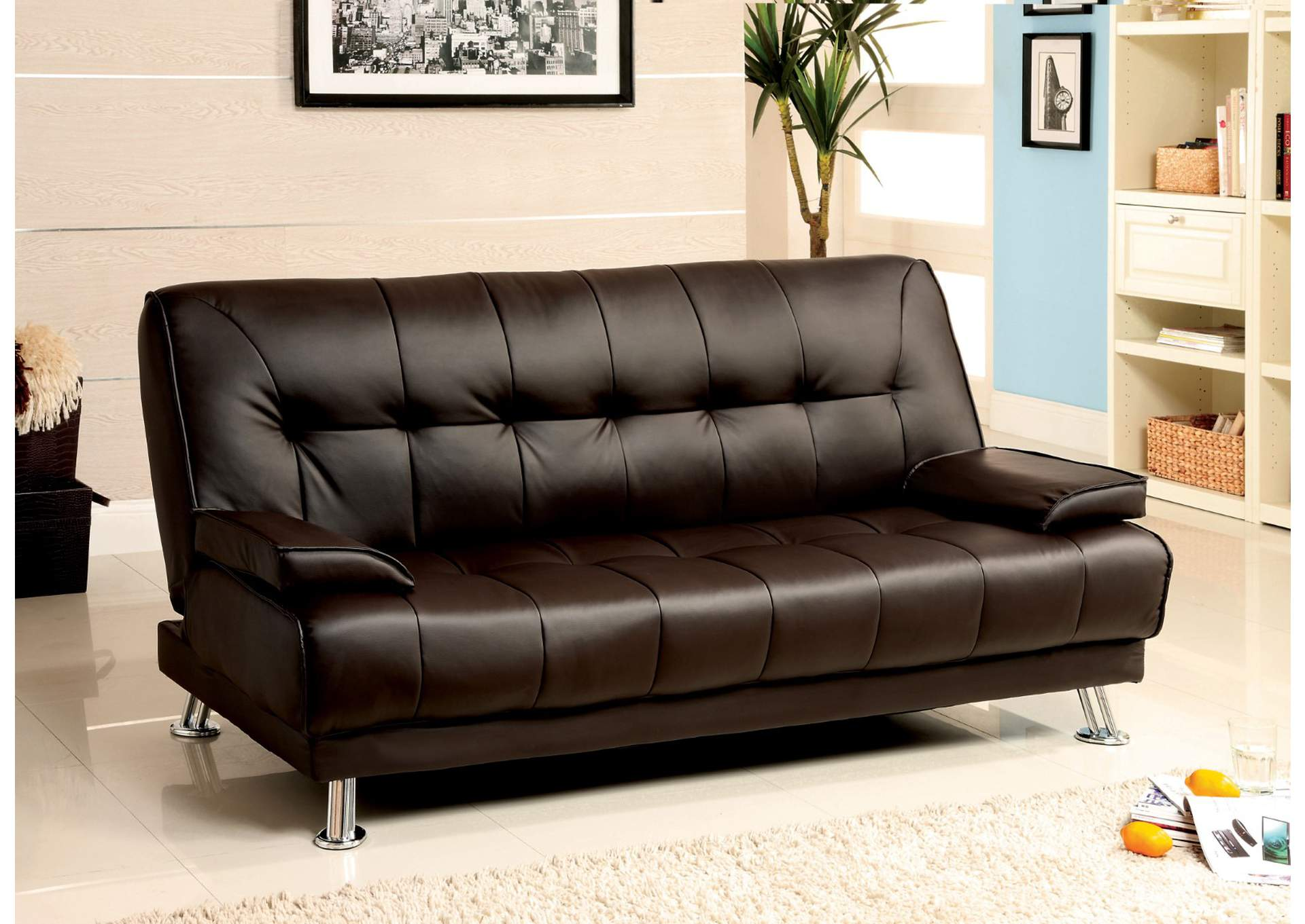 Beaumont Dark Brown Leatherette Futon Sofa,Furniture of America