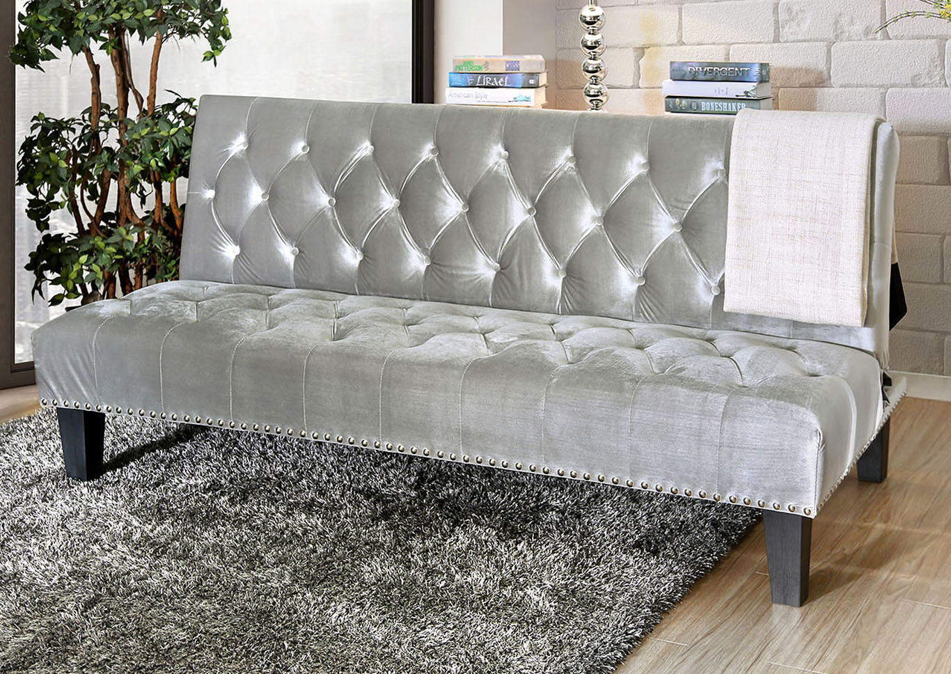 Cootehill Gray Futon Sofa,Furniture of America