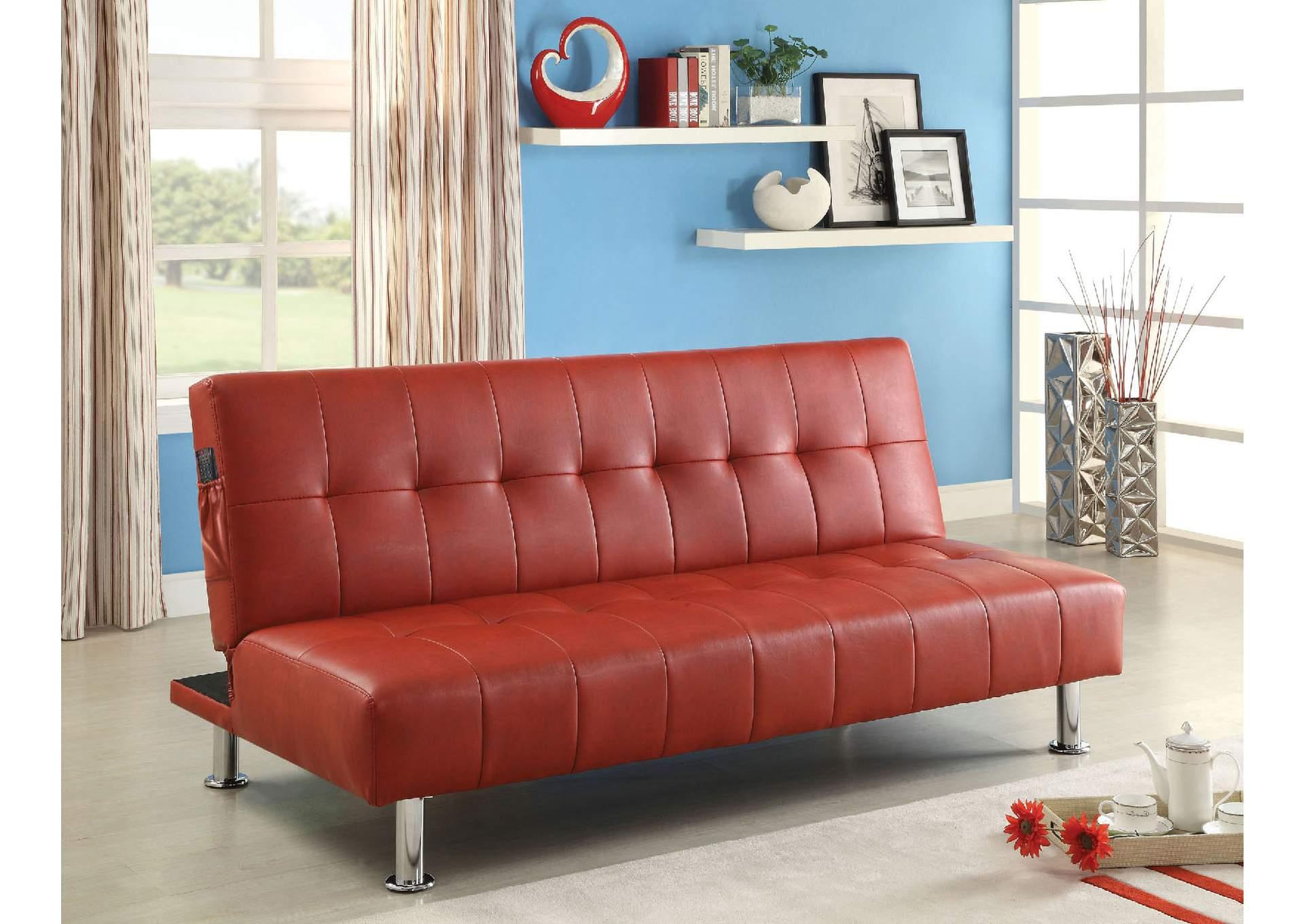 Bulle Red Leatherette Futon Sofa,Furniture Of America