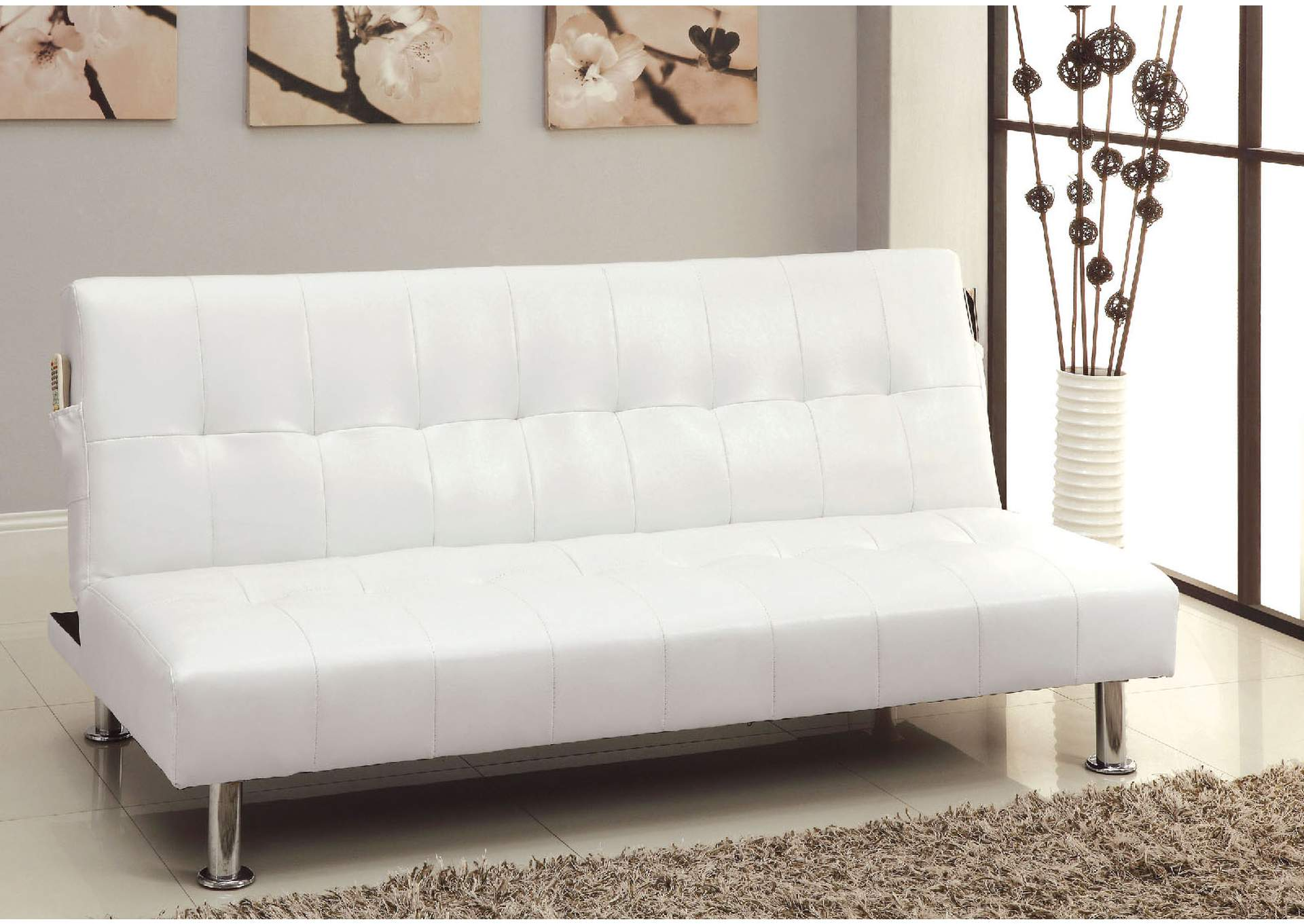 Bargain Furniture Brownsville Bulle White Leatherette Futon Sofa