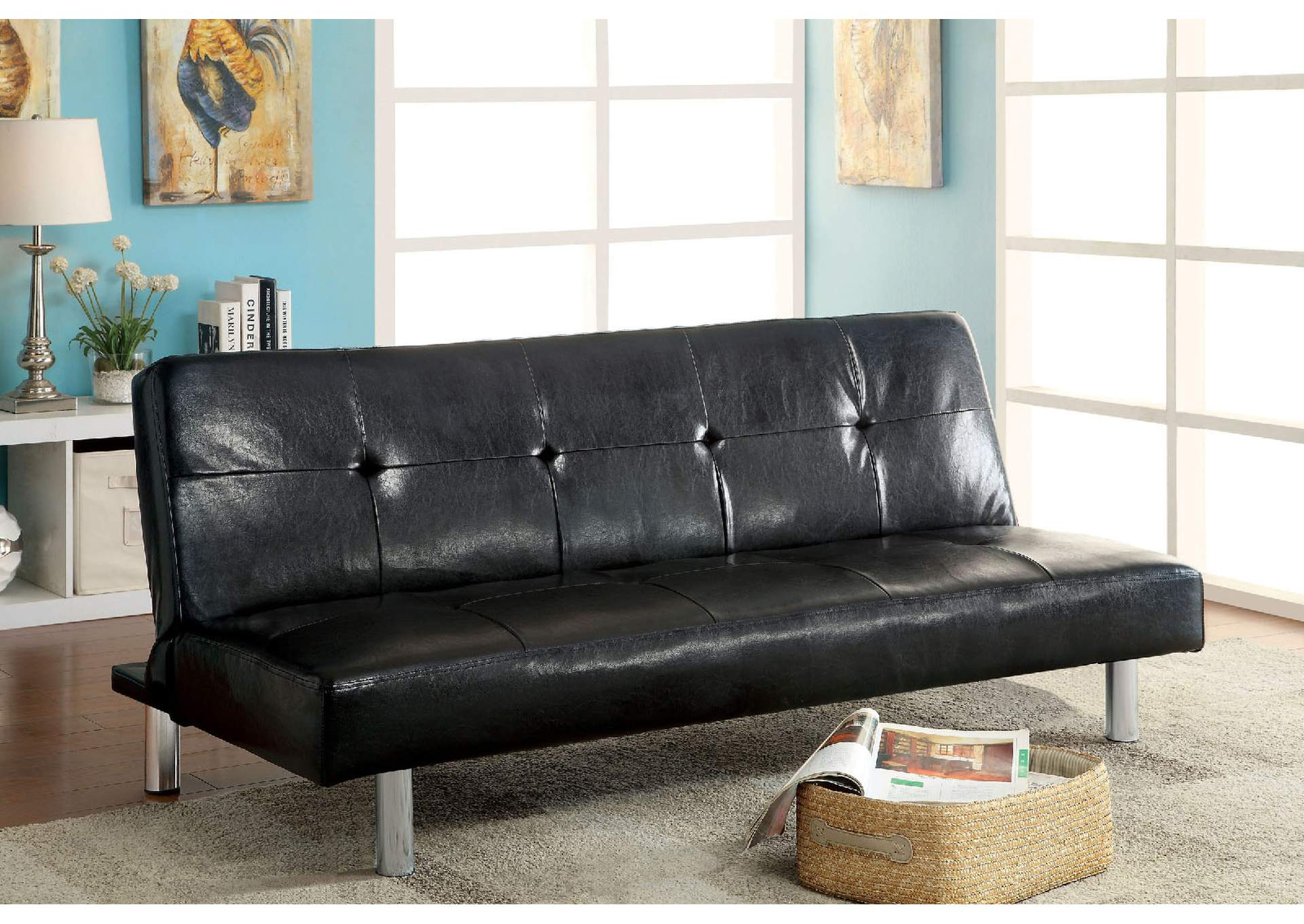 Eddi Black Leatherette Futon Sofa,Furniture of America TX