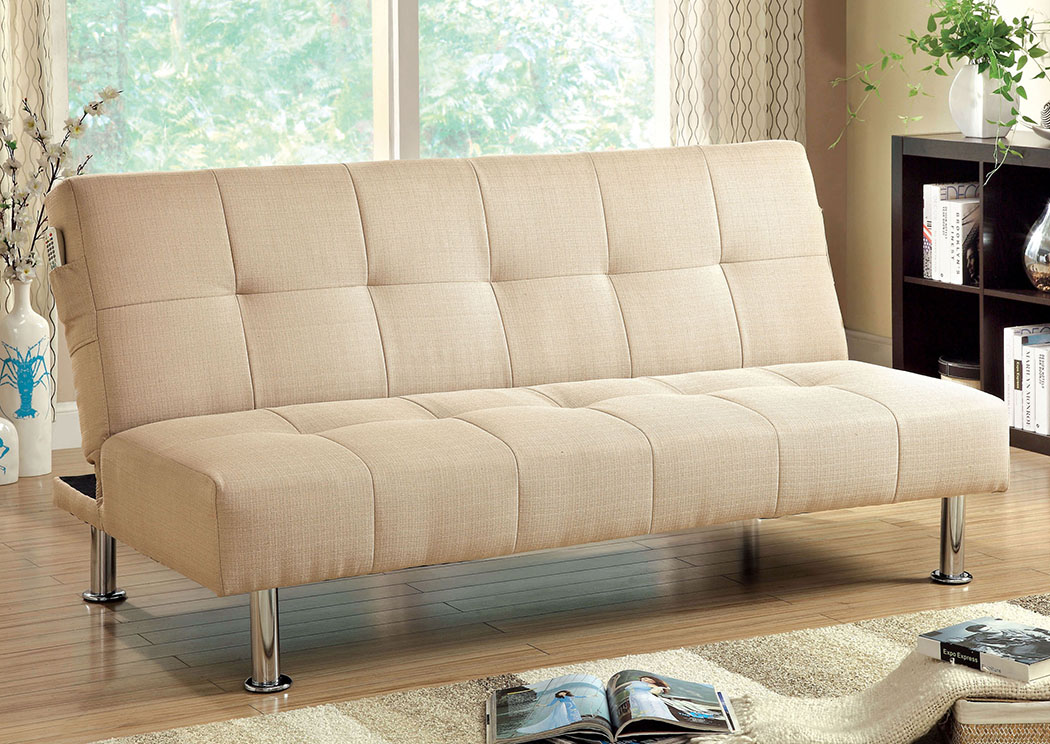 Dewey Ivory Futon Sofa,Furniture of America