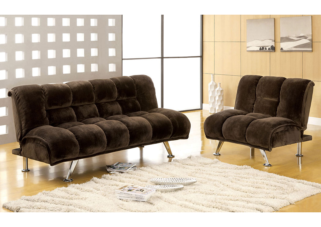 Marbelle Dark Brown Champion Fabric Futon Chair,Furniture of America