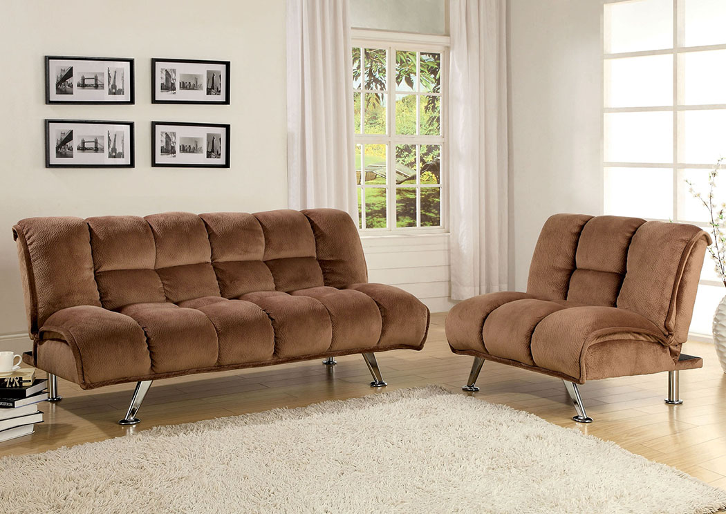Marbelle Light Brown Champion Fabric Futon Chair,Furniture of America