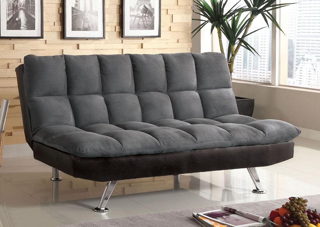Exceptionnel Tigray Gray Microfiber Futon Sofa W/Leatherette,Furniture Of America