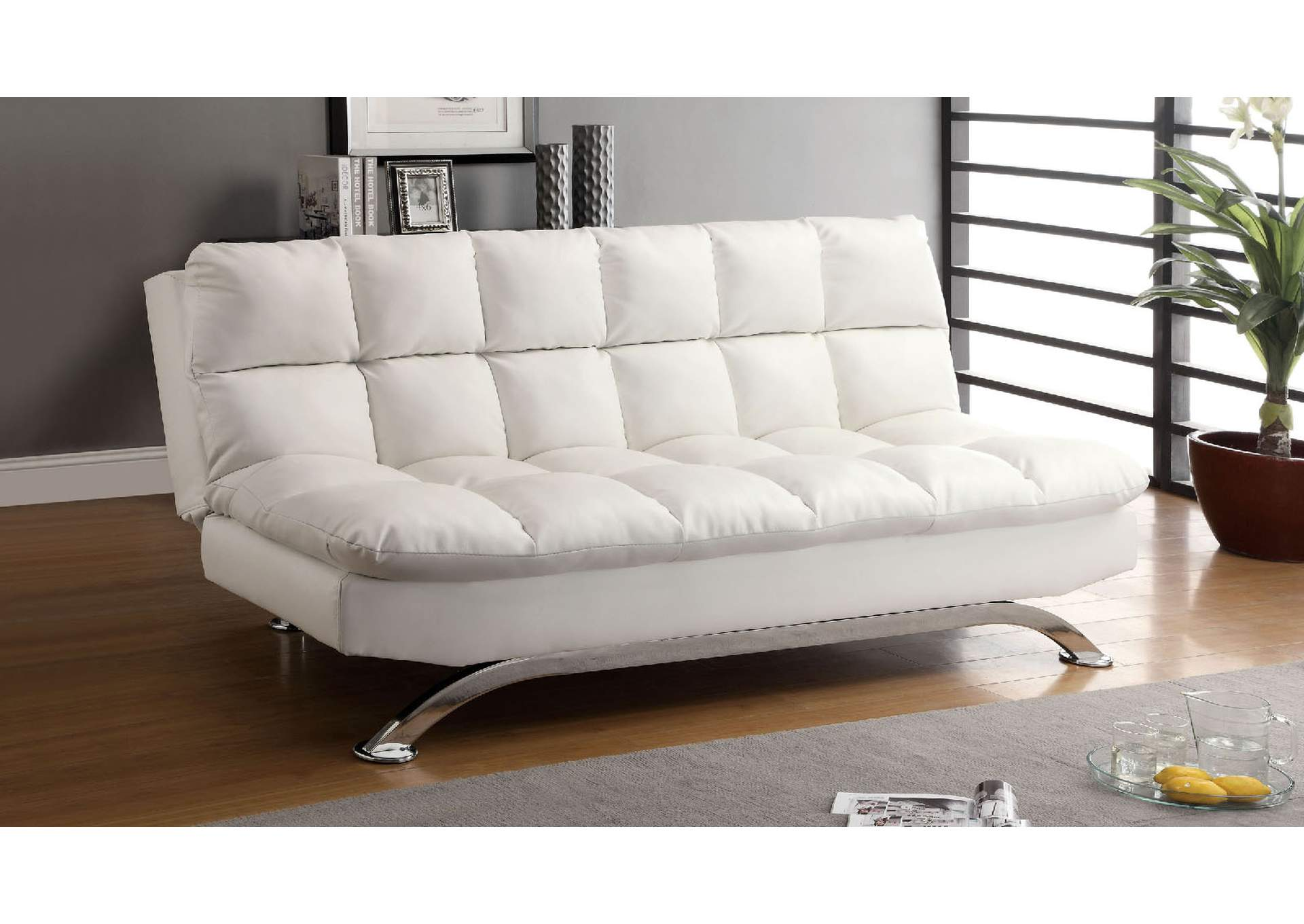 Aristo White Futon Sofa,Furniture Of America