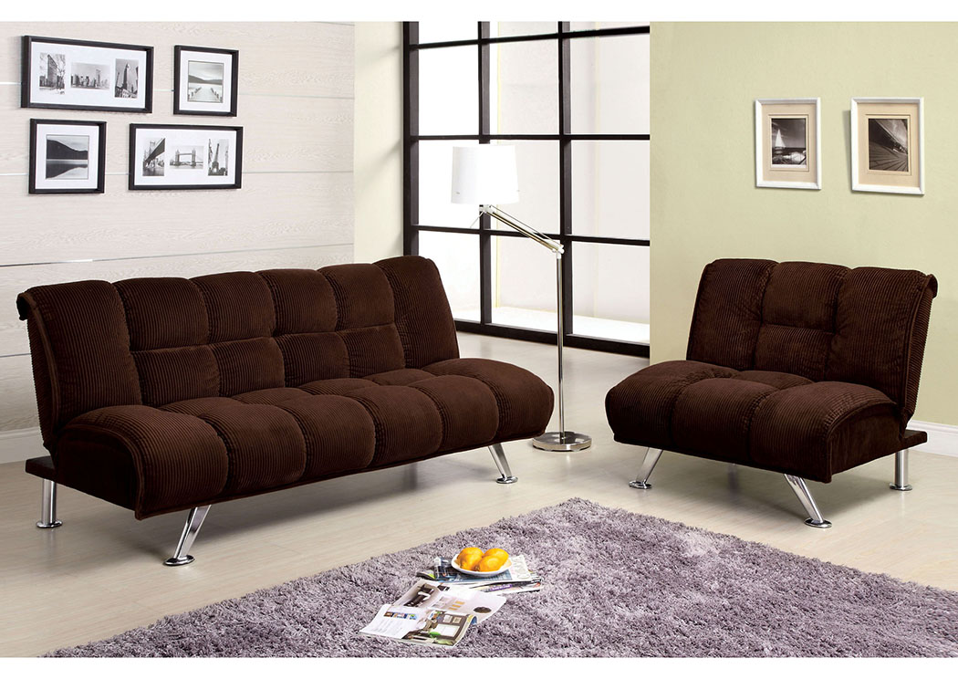 Maybelle Brown Corduroy Futon Sofa,Furniture of America TX