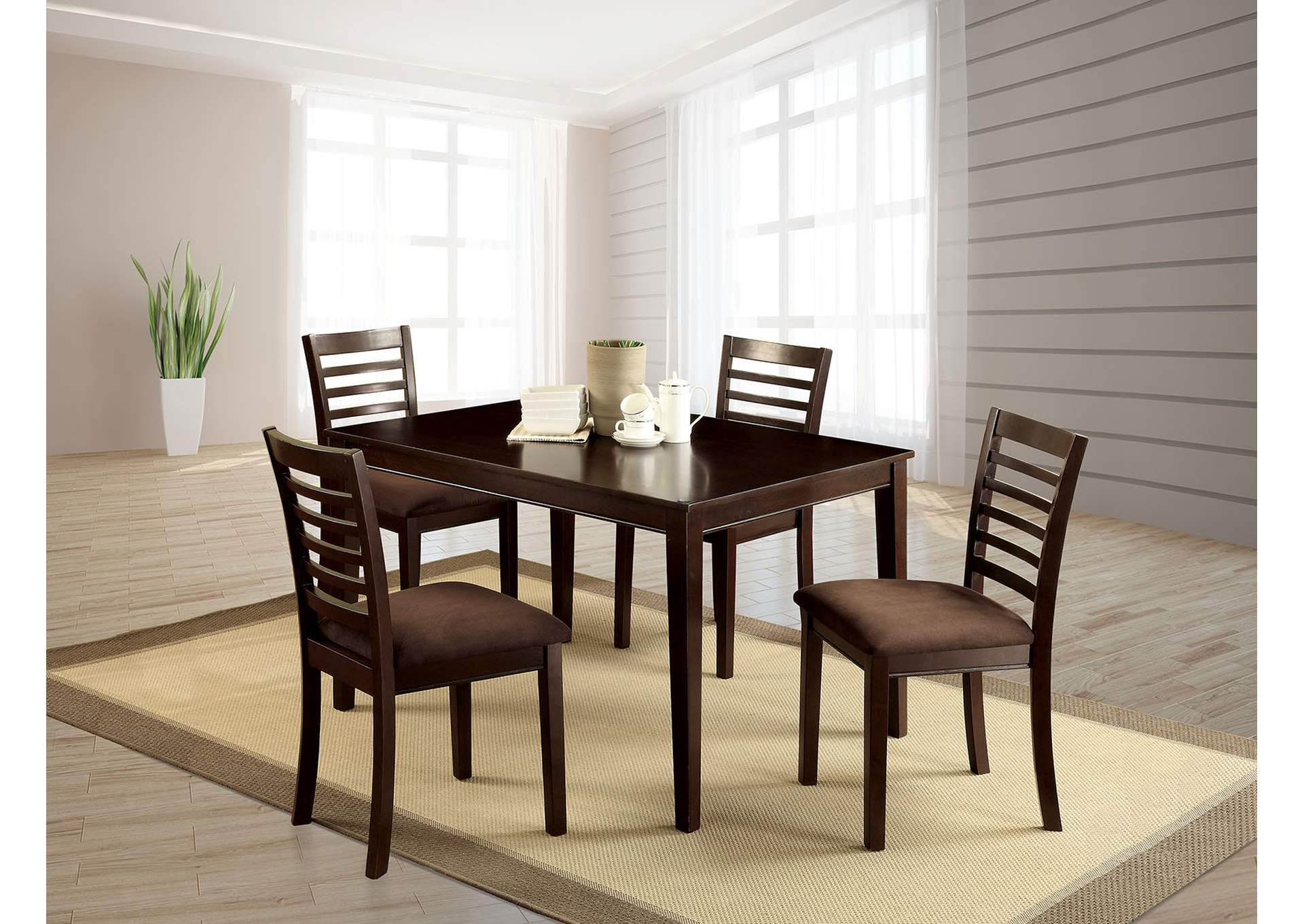 Eaton I Espresso 5 Pc Dining Table Set,Furniture of America