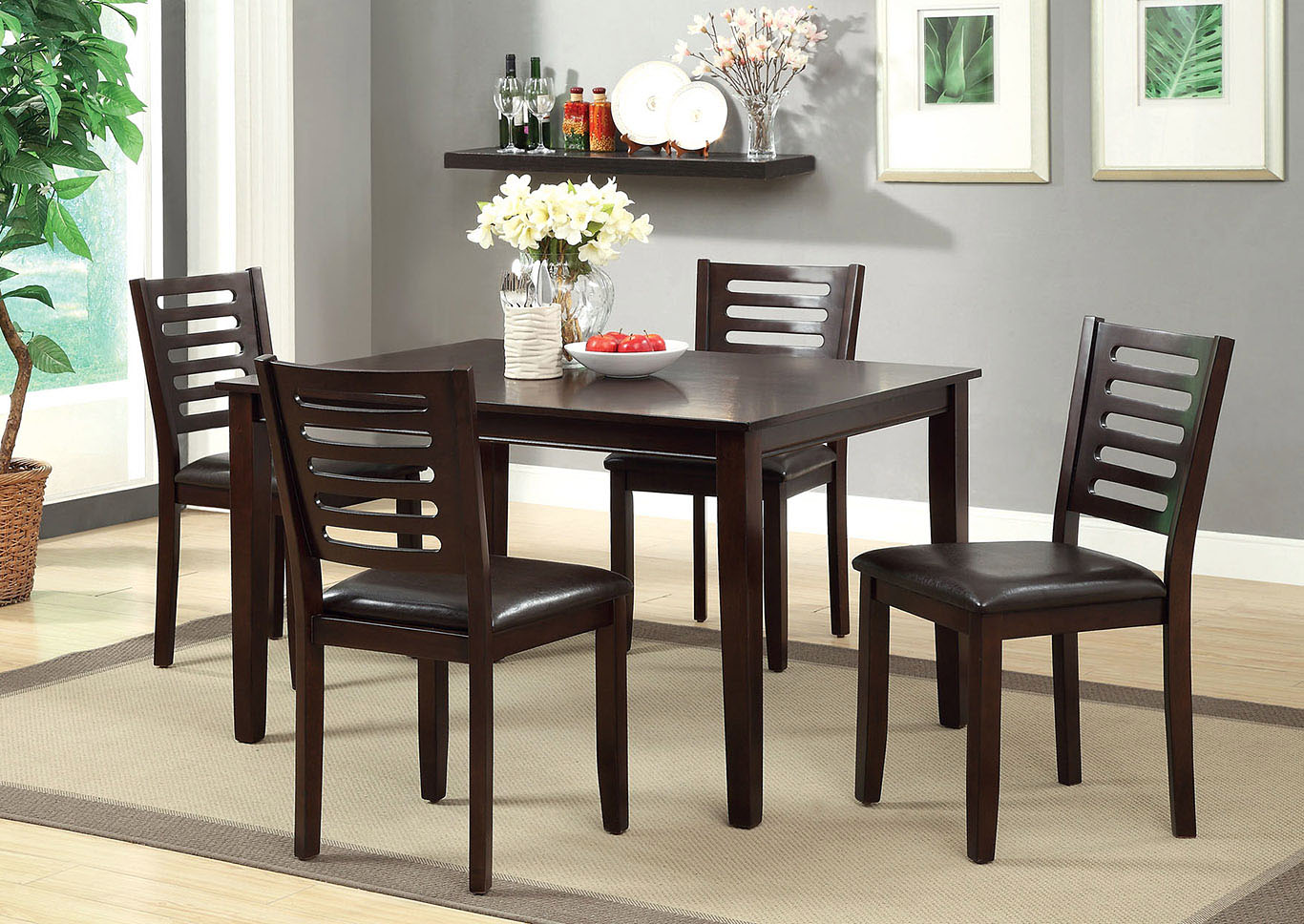 Amador I Espresso 5 Pc Dining Table Set,Furniture of America