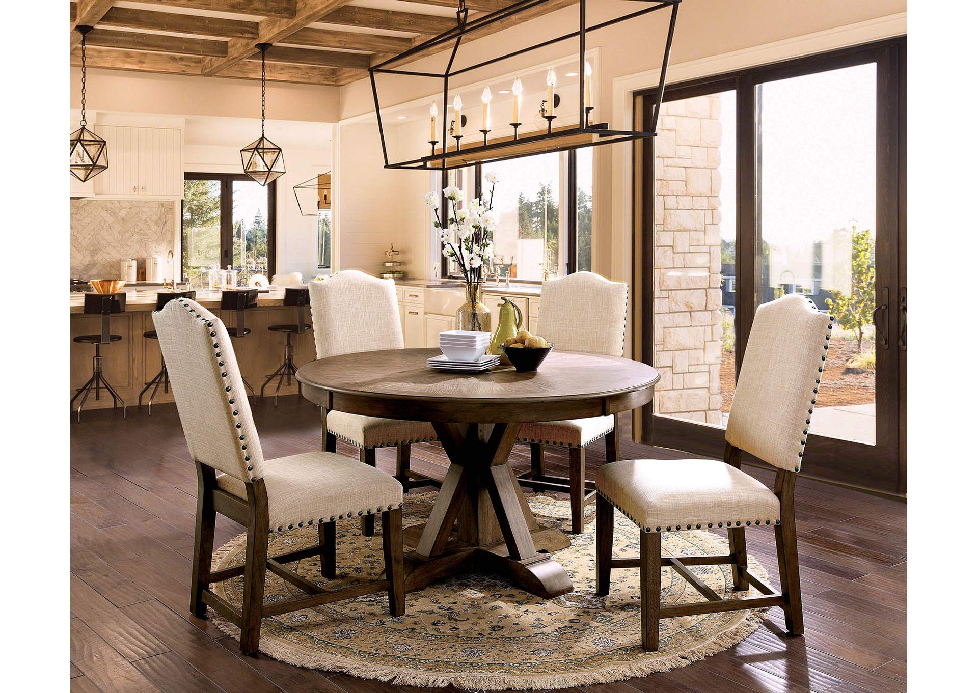Julia Light Oak Round Dining Table,Furniture of America