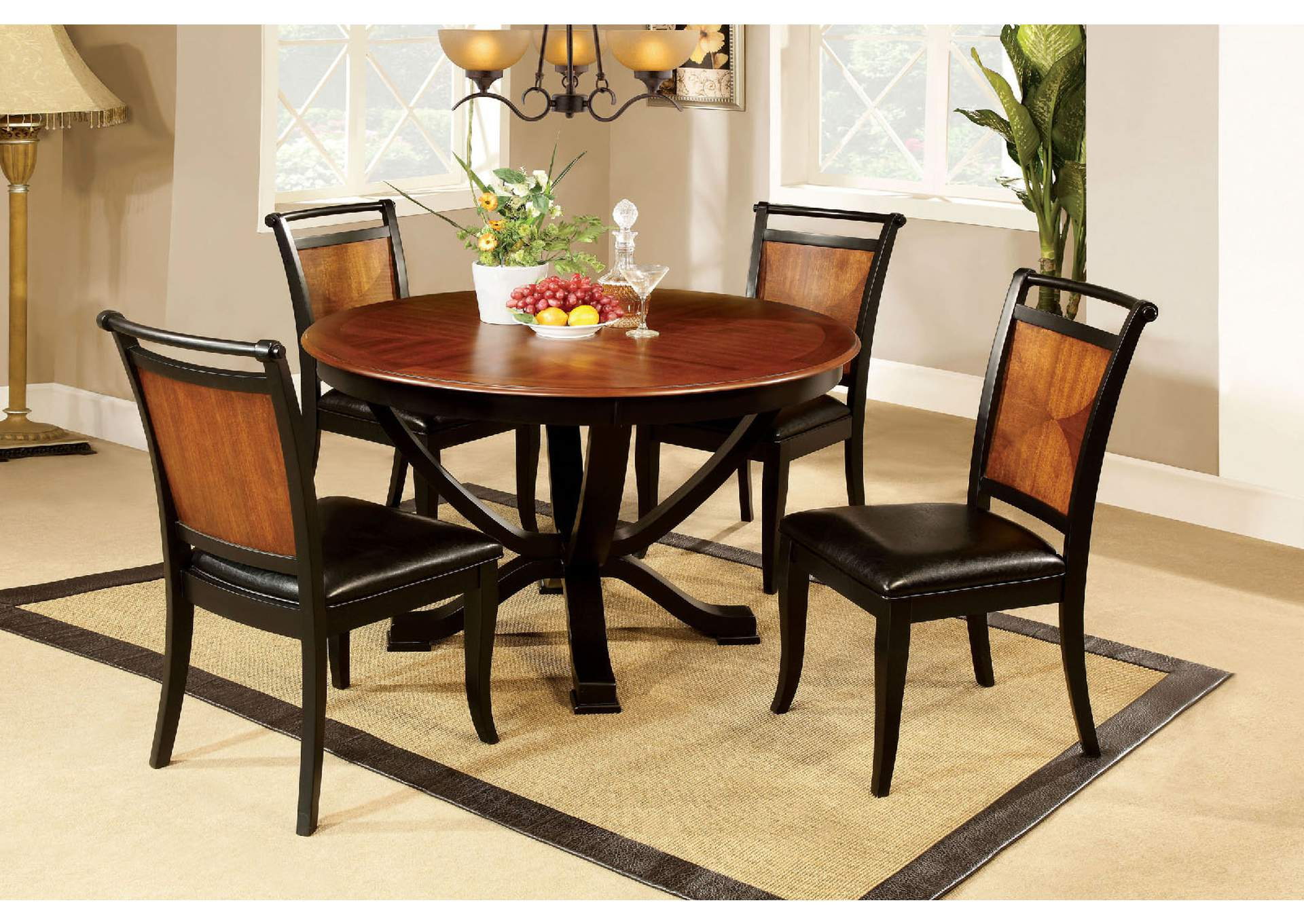 Salida l Black & Acacia Round Dining Table w/4 Side Chairs,Furniture of America