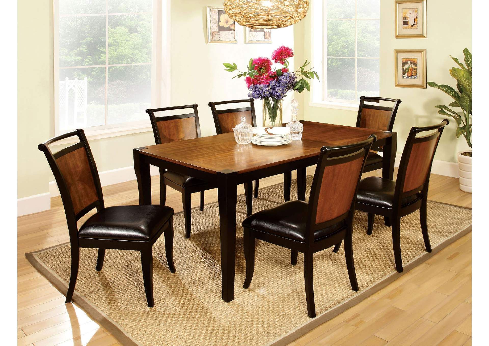 Salida l Black & Acacia Dining Table w/4 Side Chairs,Furniture of America
