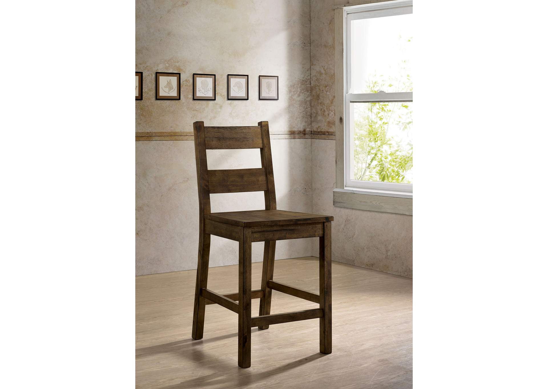 Kristen Rustic Oak Counter Ht. Side Chair (2/Ctn),Furniture of America