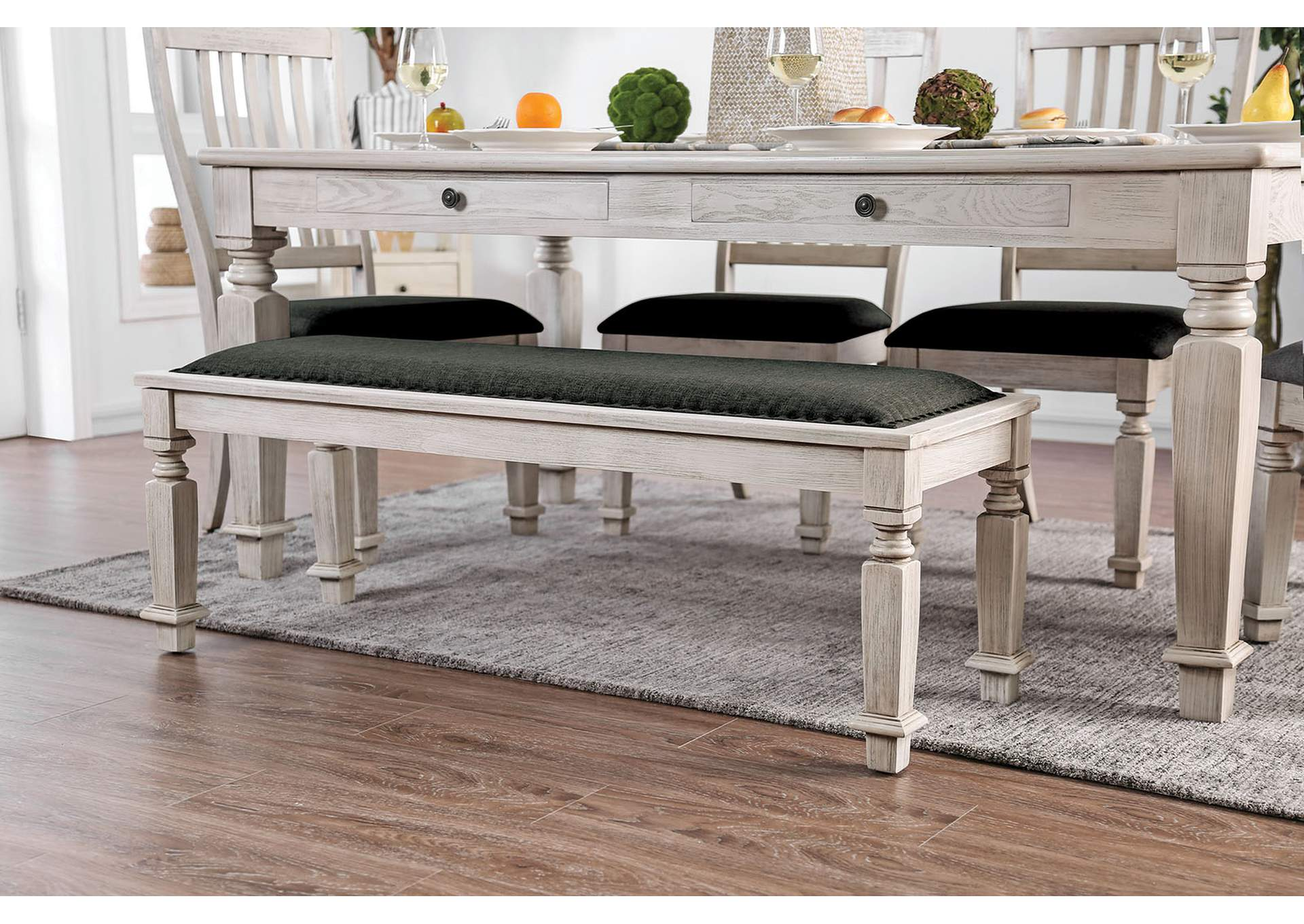 Georgia Antique White Dining Bench,Furniture of America