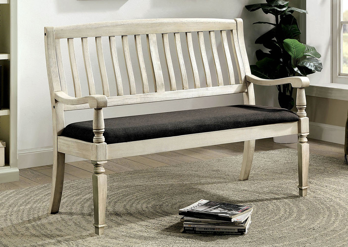 Georgia Antique White Loveseat Bench,Furniture of America