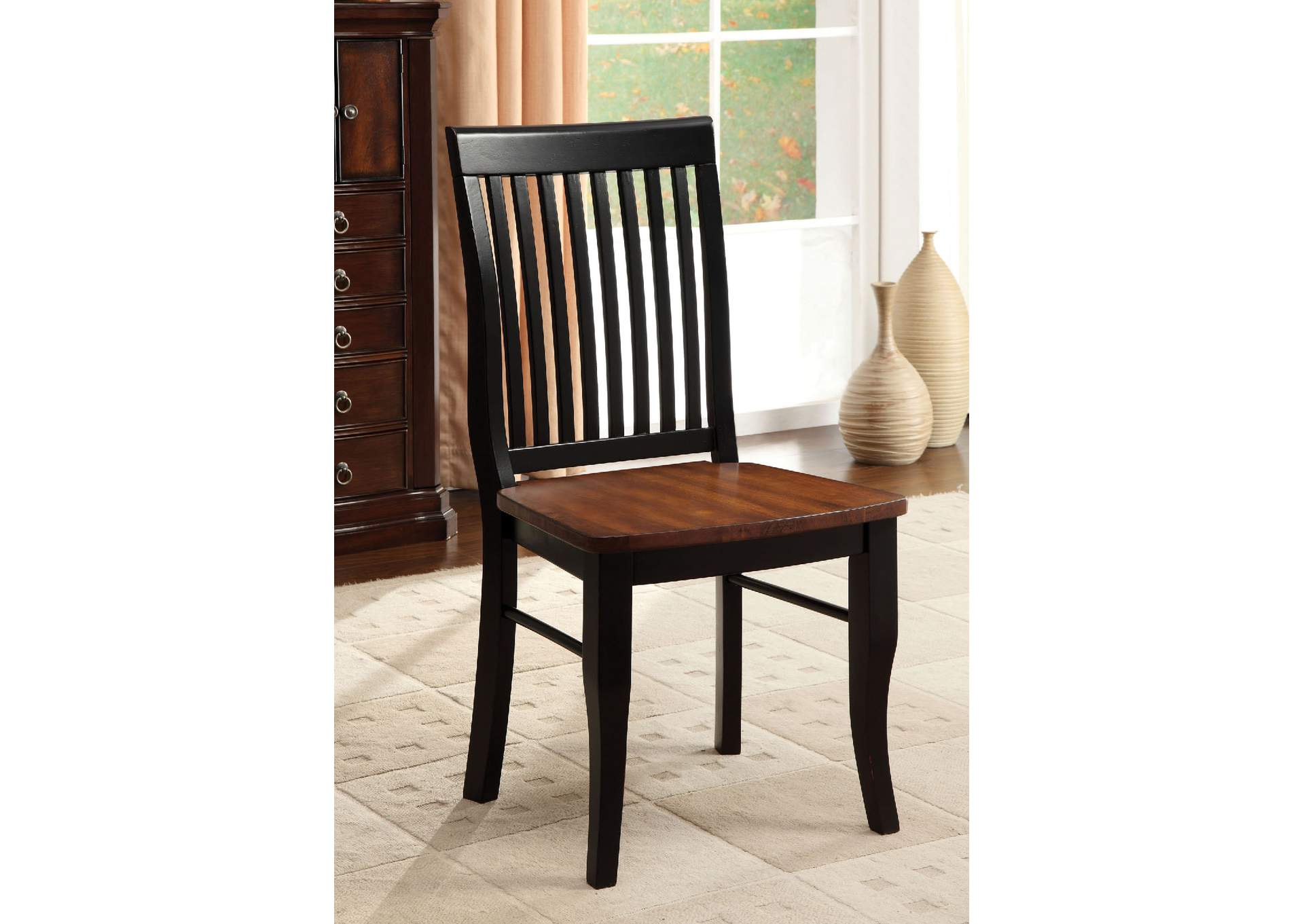 Earlham Black & Oak Side Chair (Set of 2),Furniture of America