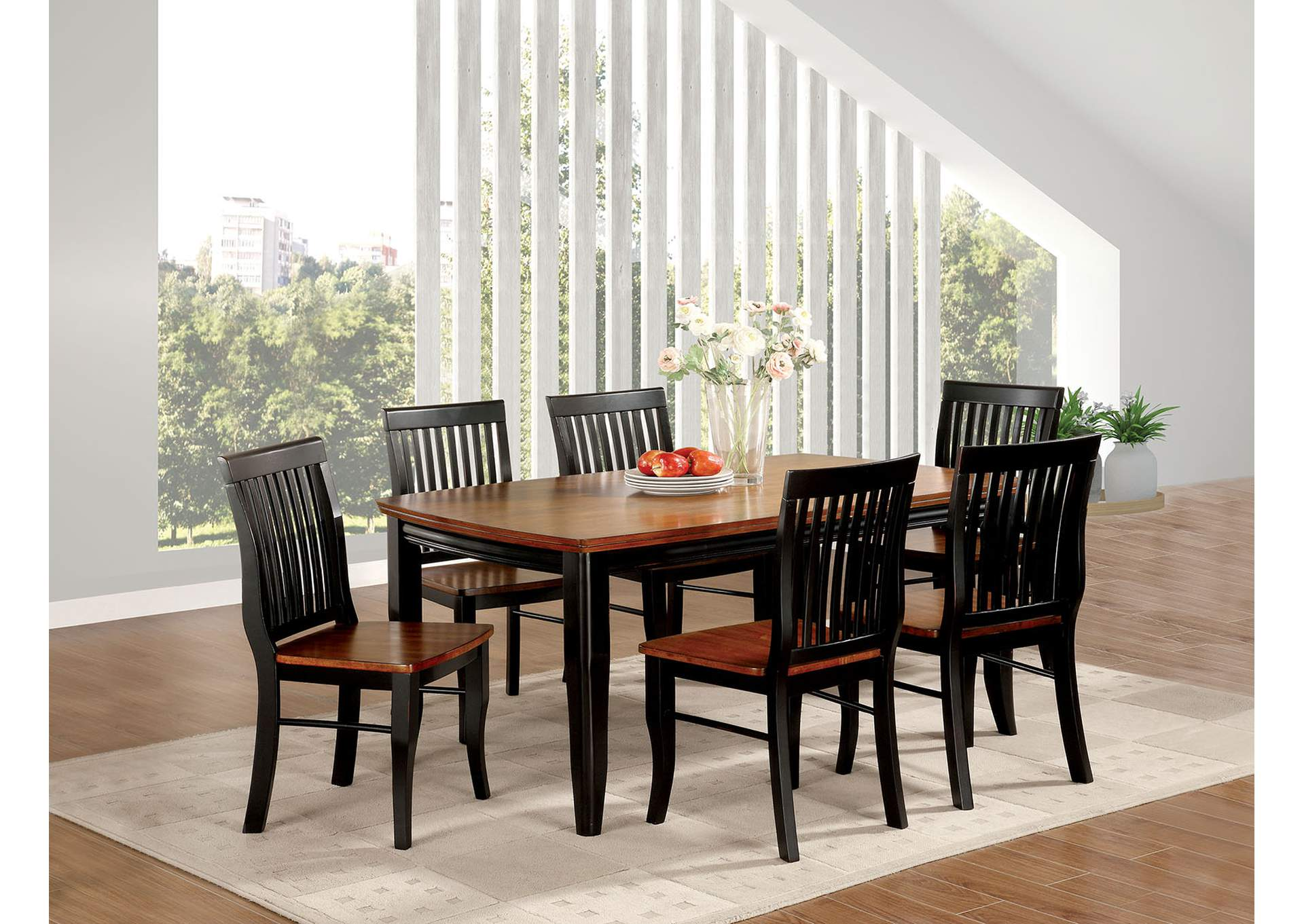 Earlham Black & Oak Dining Table w/4 Side Chairs,Furniture of America
