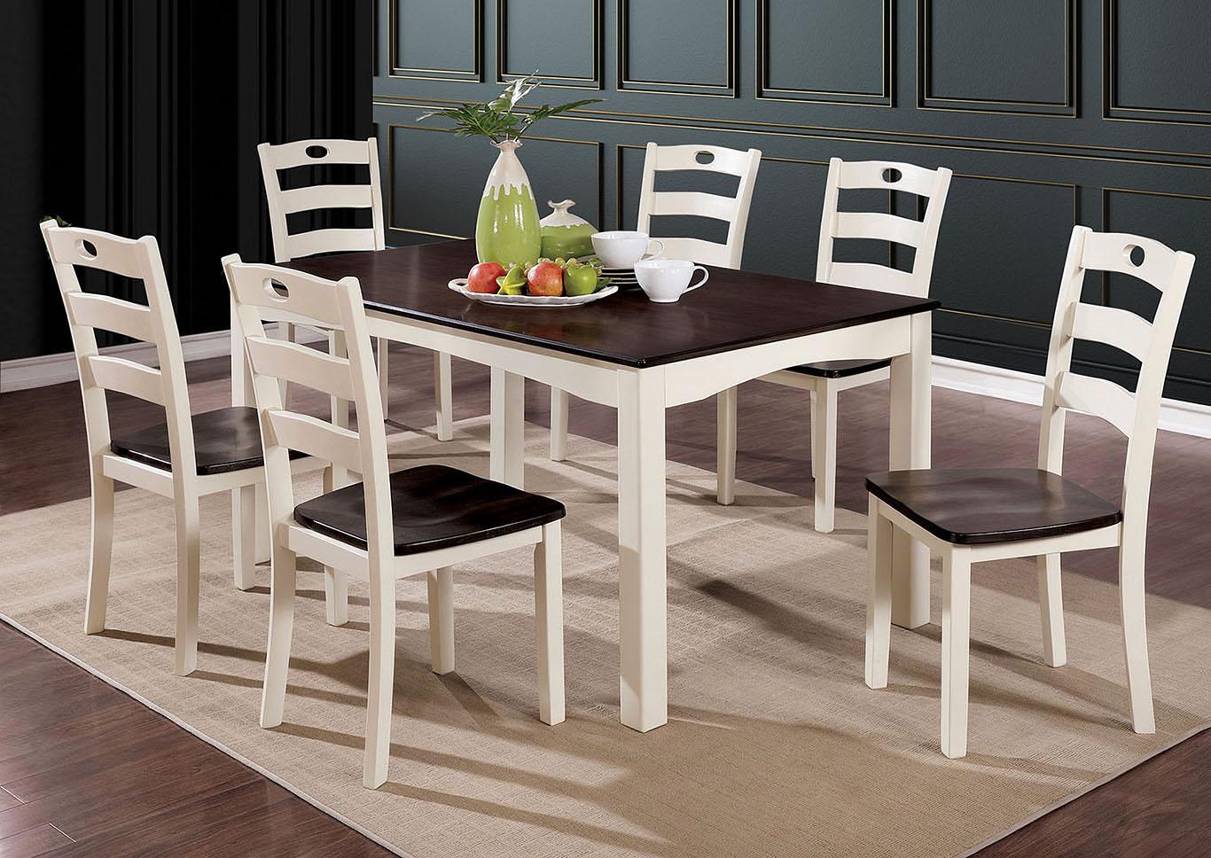 Liliana White Walnut 7 Piece Dining Table SetFurniture Of America