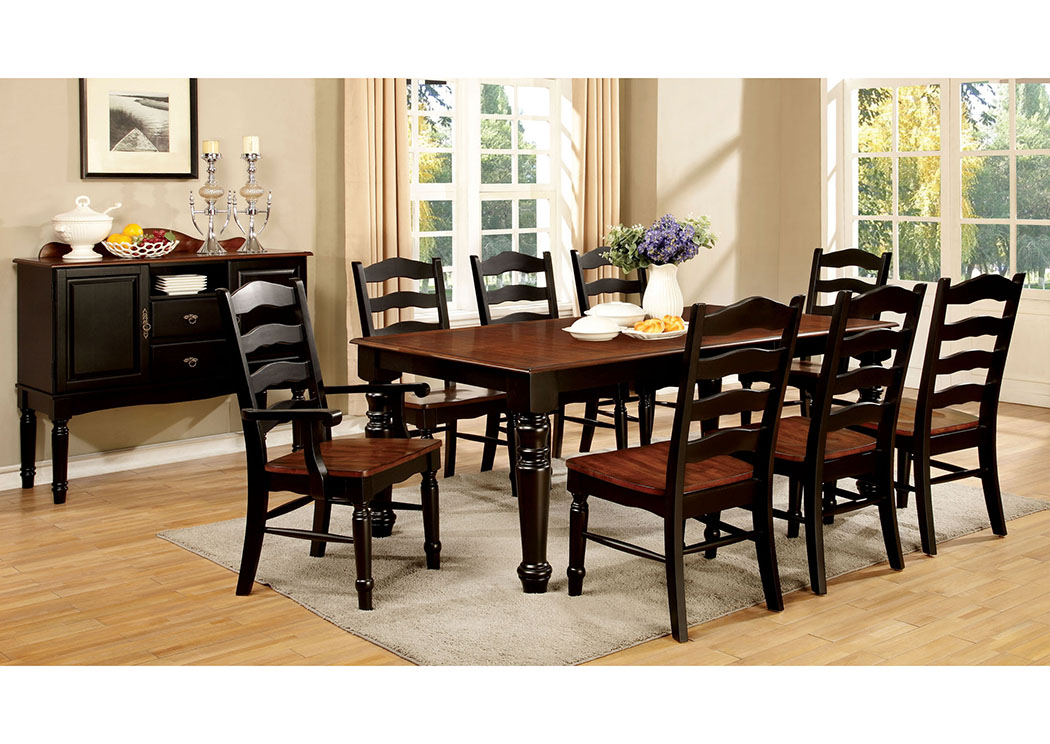 Palisade Black & Cherry Dining Table w/18