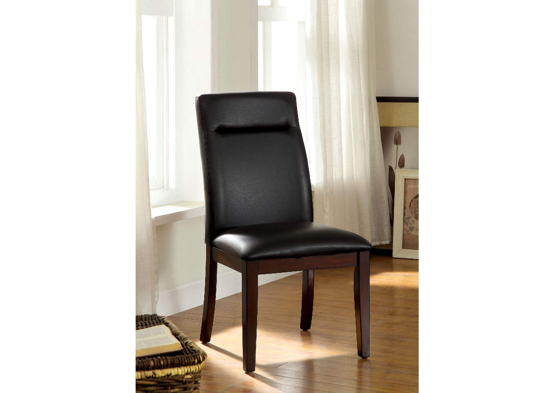 Lawrence Dark Cherry Side Chair (Set of 2),Furniture of America