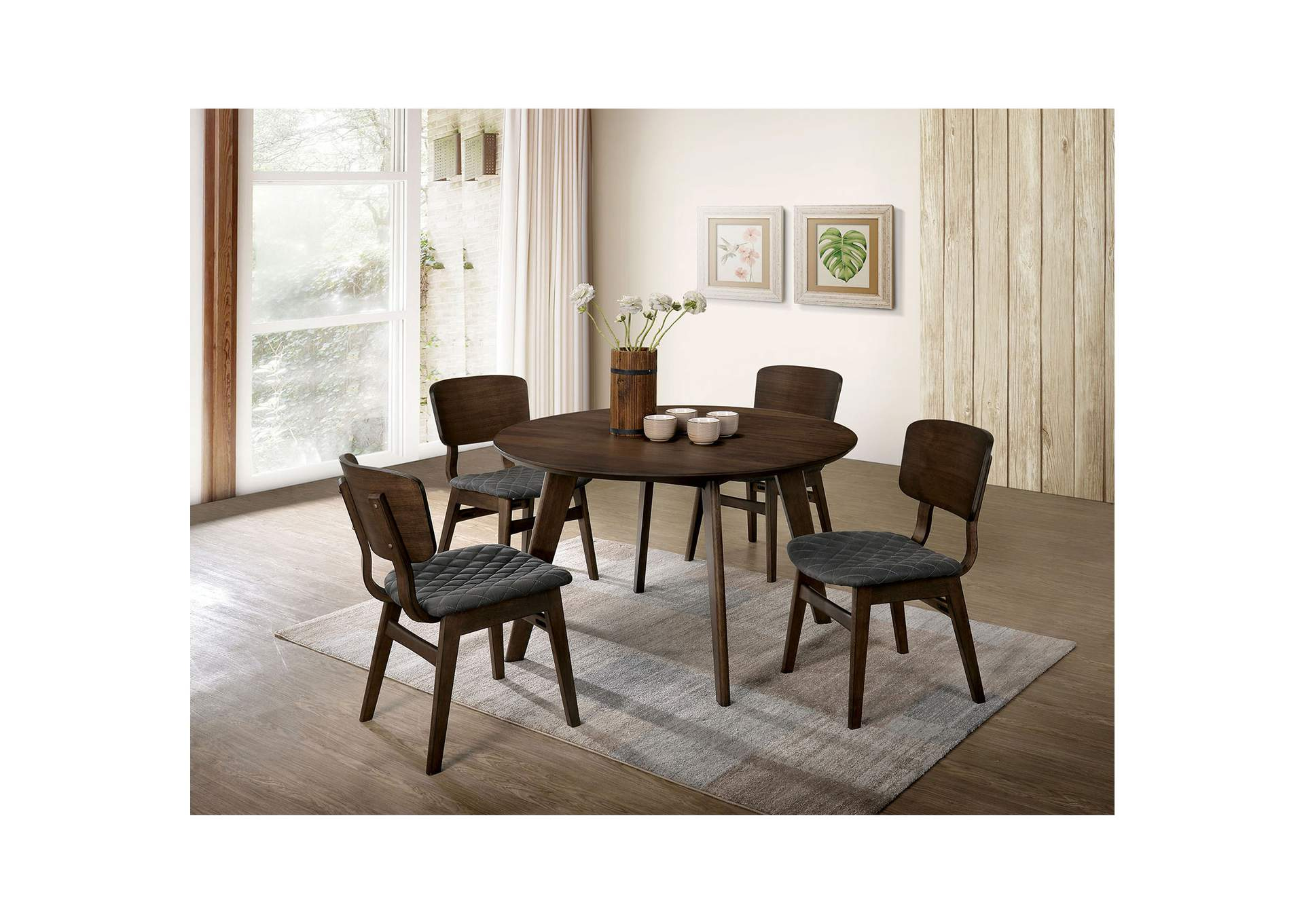 Shayna Gray Walnut Round Dining Table,Furniture of America