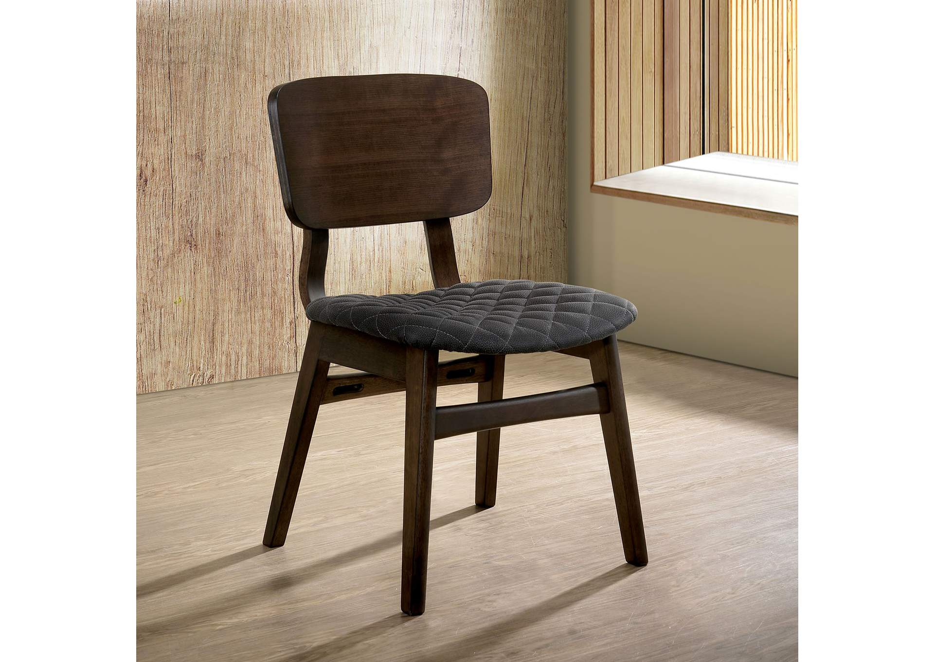 Shayna Gray Walnut Side Chair (2/Ctn),Furniture of America