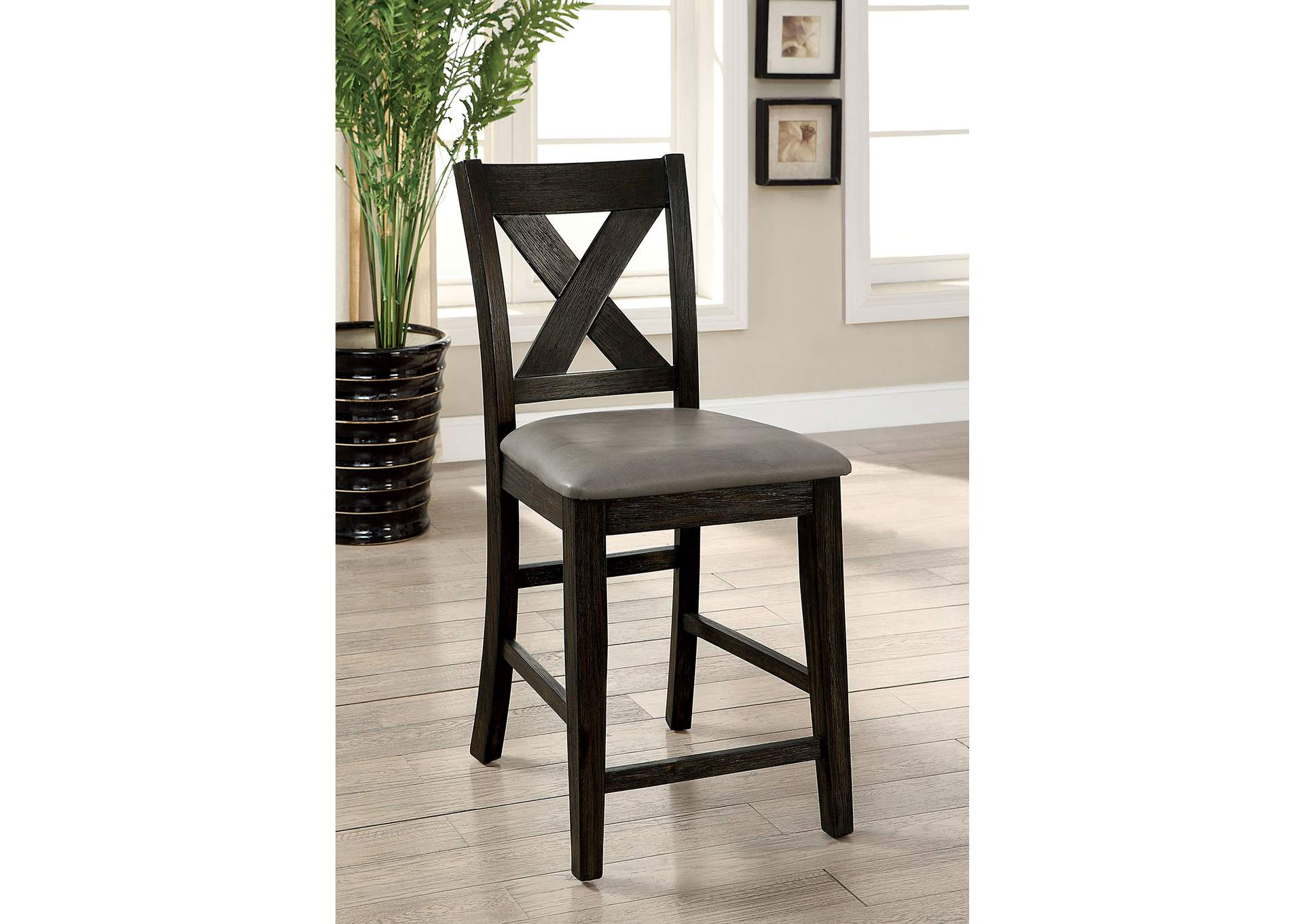 Lana Dark Walnut Counter Height Chair (Set of 2),Furniture of America