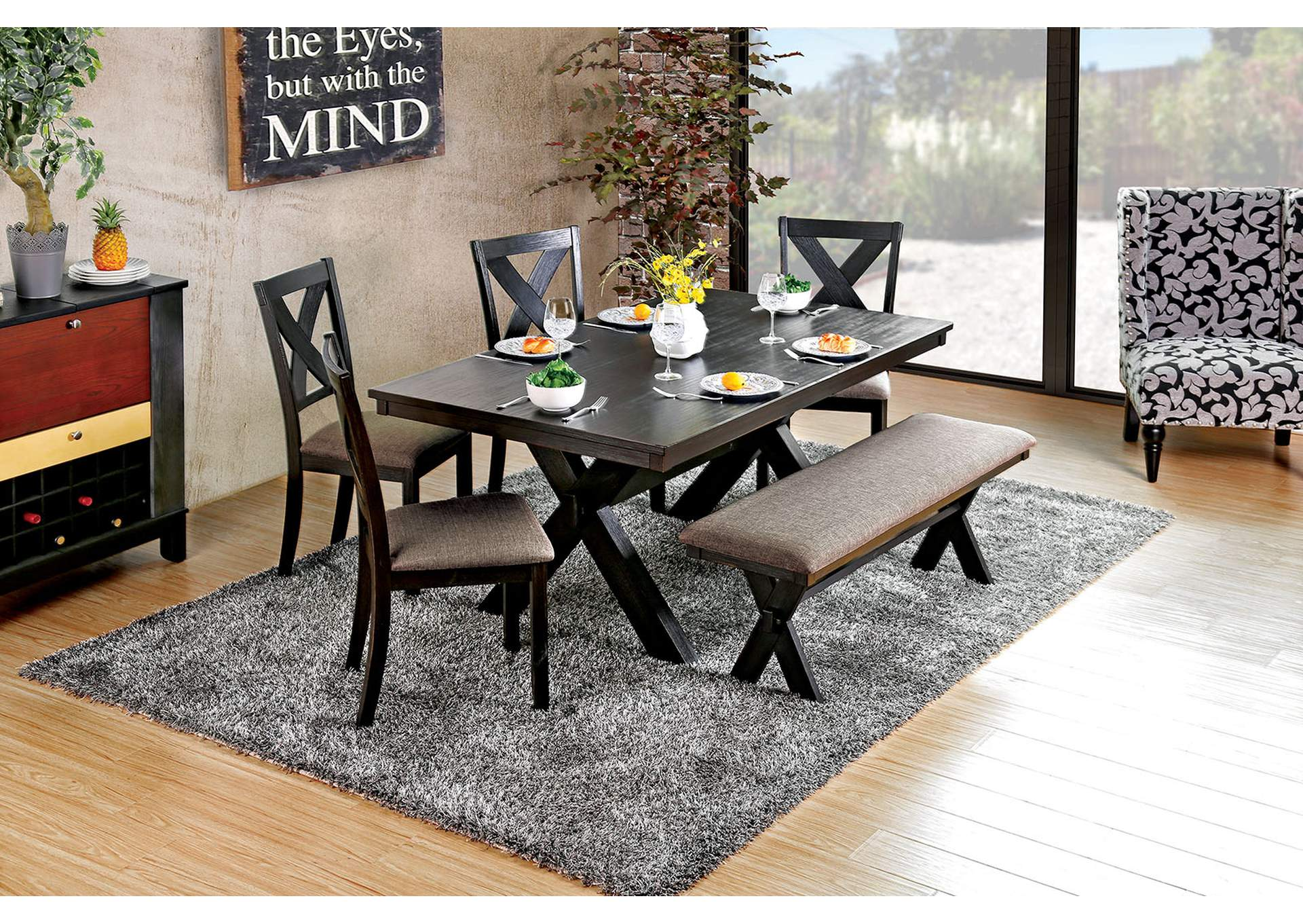 Xanthe Black Dining Table,Furniture of America