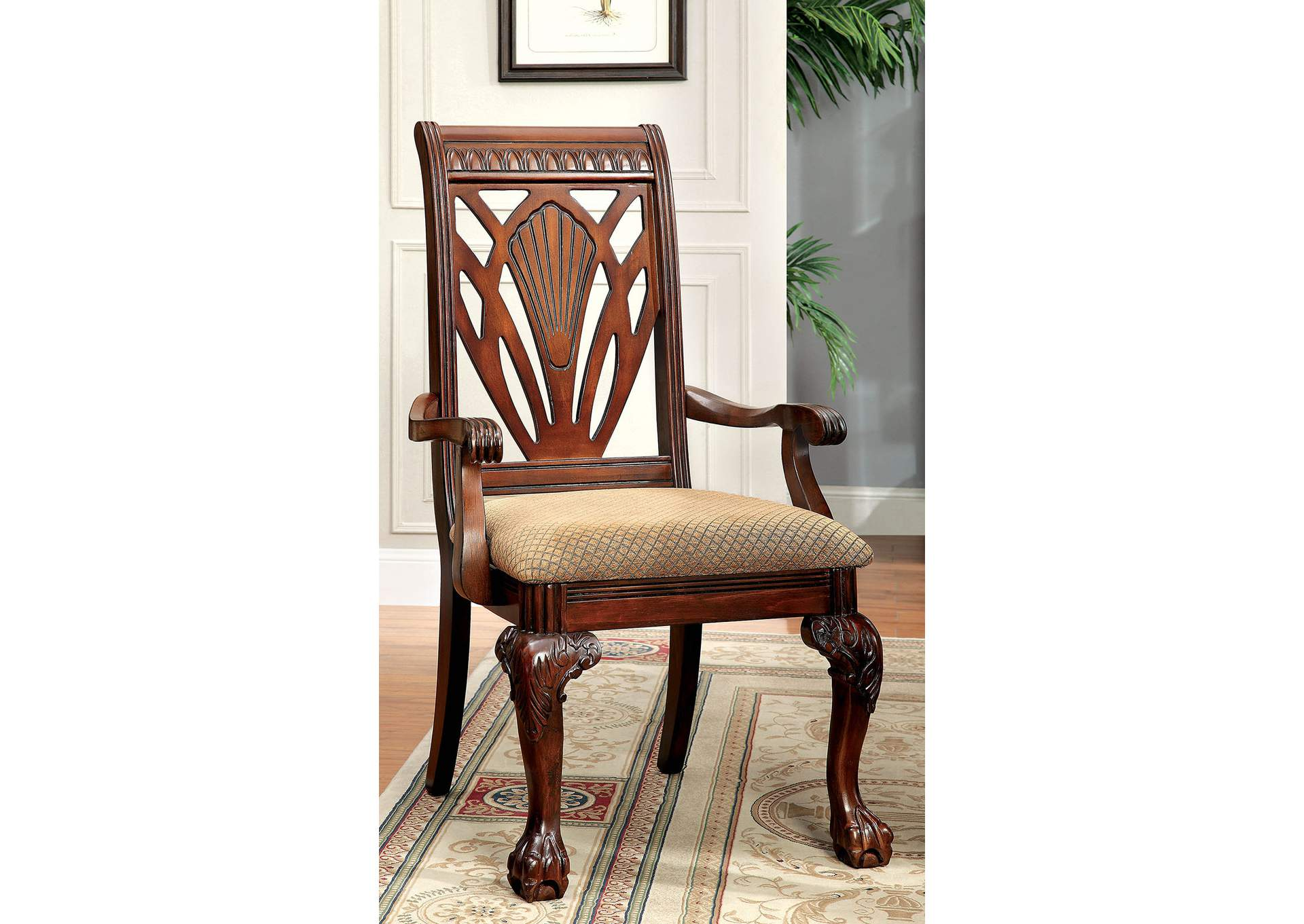Petersburg l Cherry Arm Chair (Set of 2),Furniture of America
