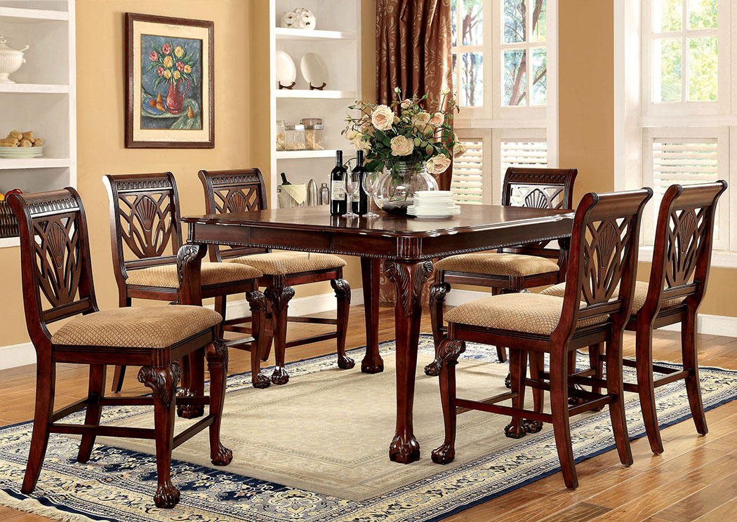 Petersburg l Cherry Square Counter Height Table w/6 Counter Height Side Chairs,Furniture of America