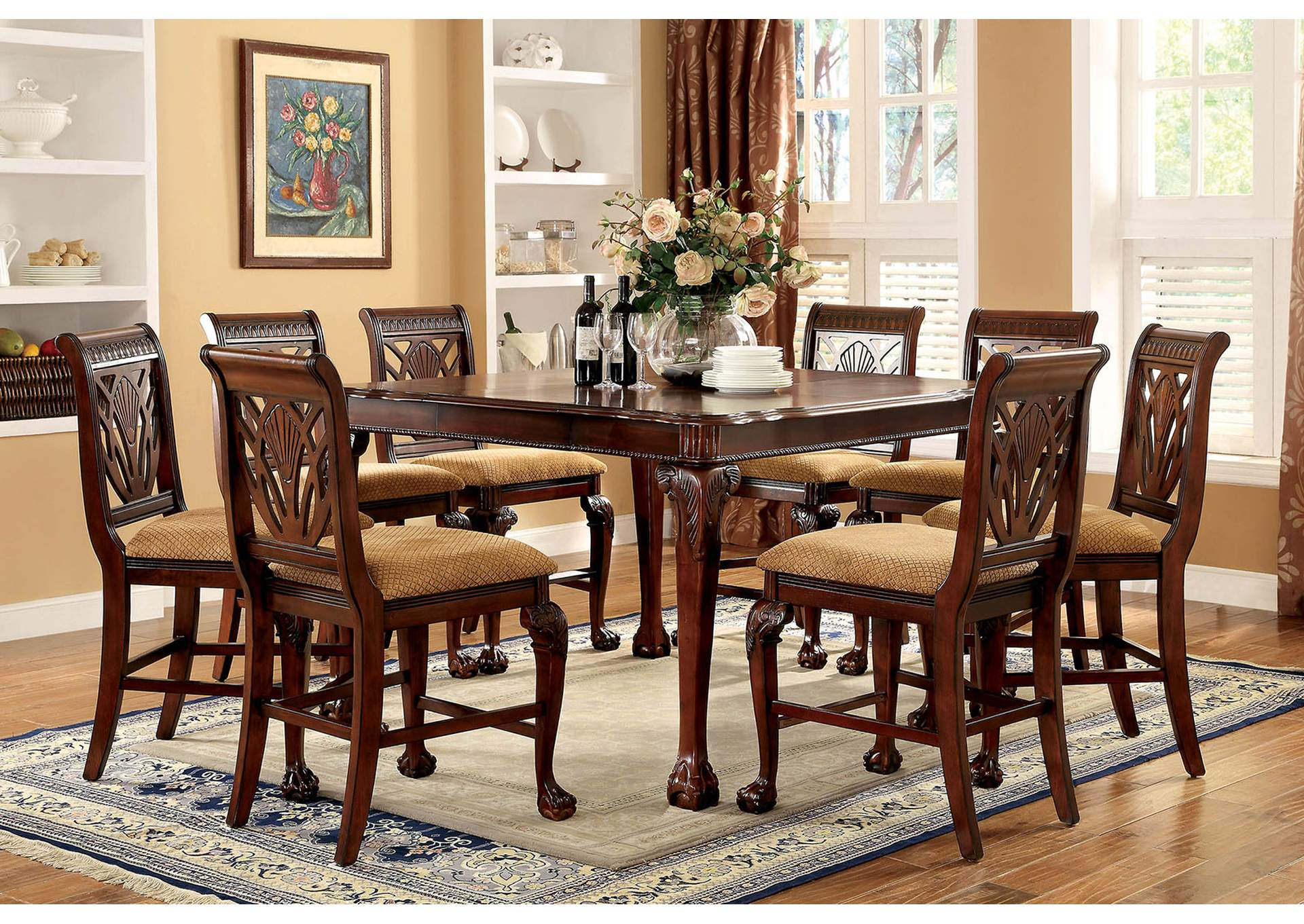 Petersburg l Cherry Square Counter Height Dining Table w/8 Counter Height Side Chairs,Furniture of America