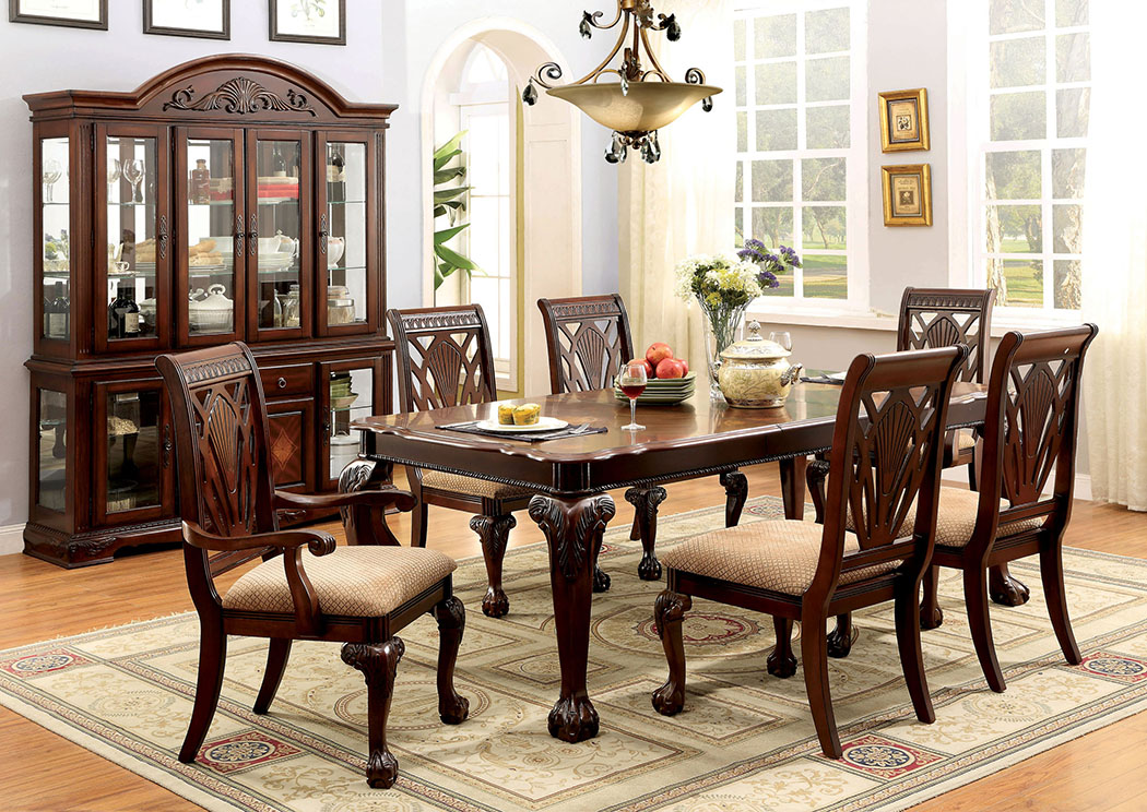 Petersburg L Cherry Rectangle Extension Dining Table W 4 Side Chairs 2 Arm