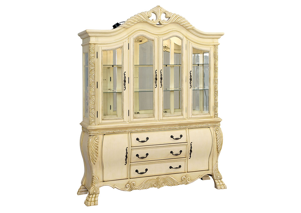 Wyndmere White Hutch & Buffet w/Touch Lights,Furniture of America